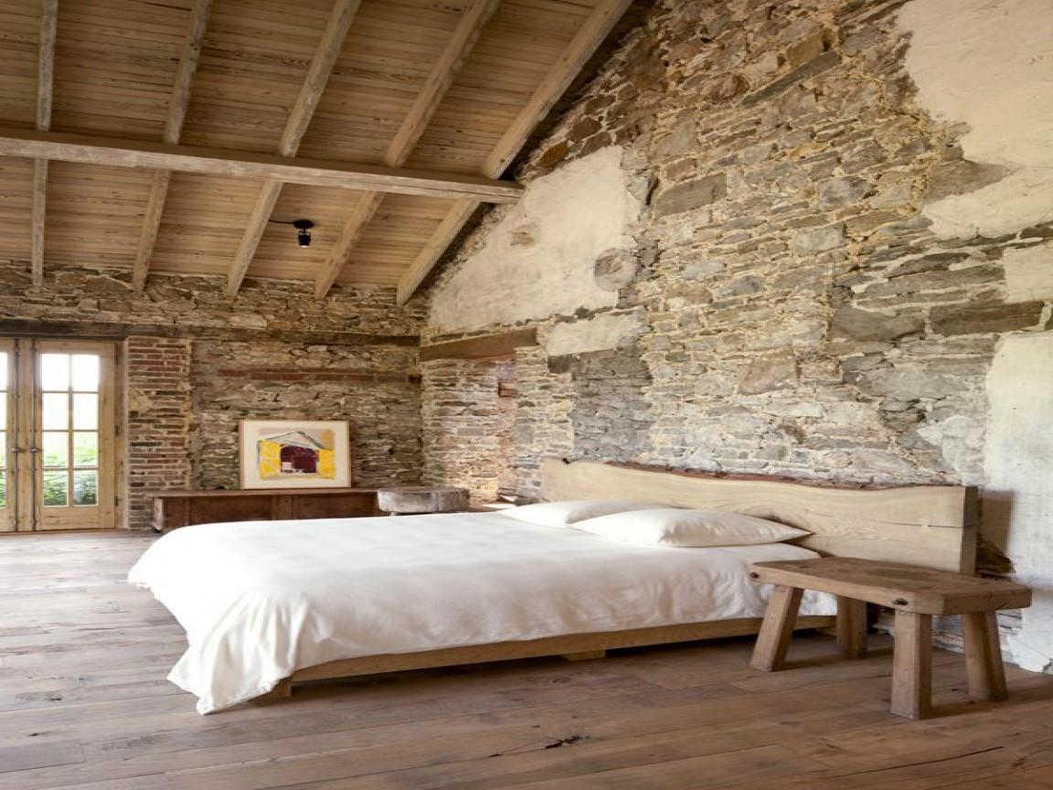 Brick Wall Inside House Rustic Bedroom Designs Stone