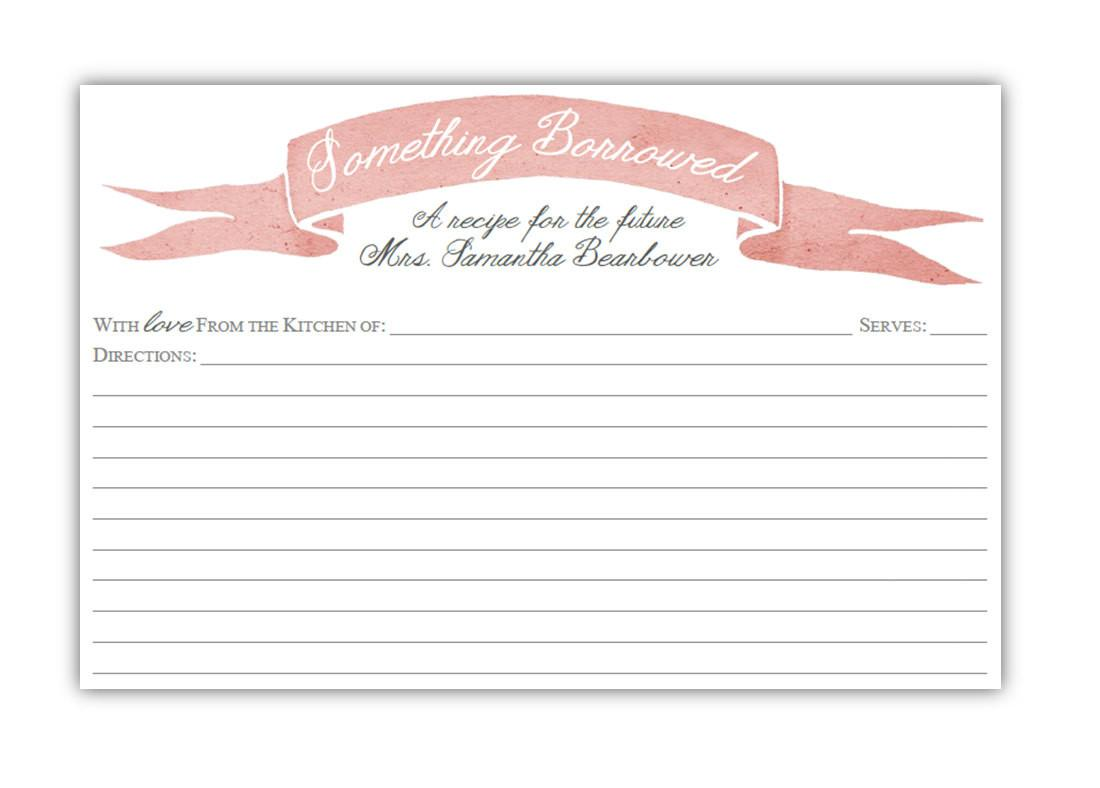 Bridal Shower Recipe Card Diy Digital Printable Pdf