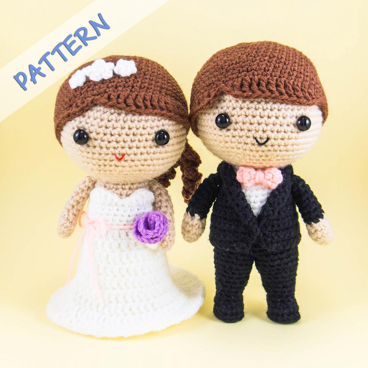 Bride Groom Amigurumi Pattern Diy Wedding Decoration