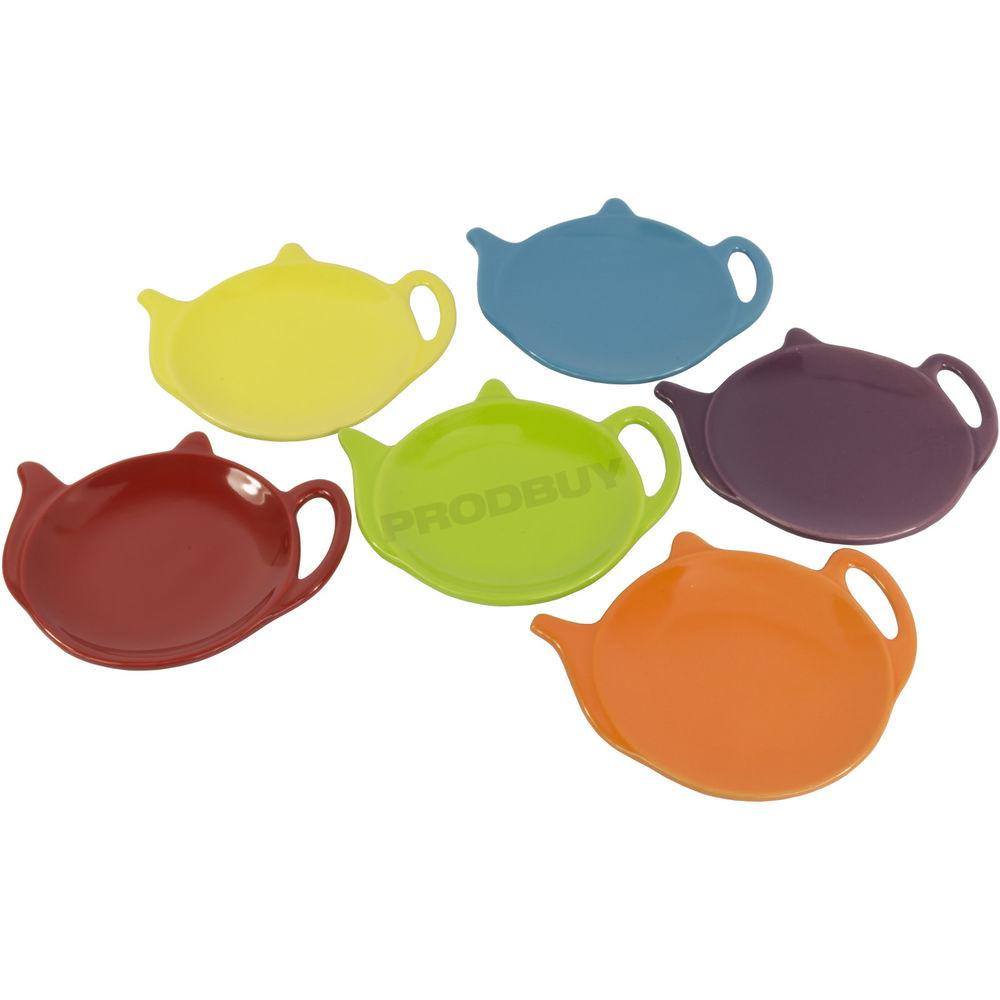 Bright Colour Small Teabag Tidy Holder Teapot Shaped
