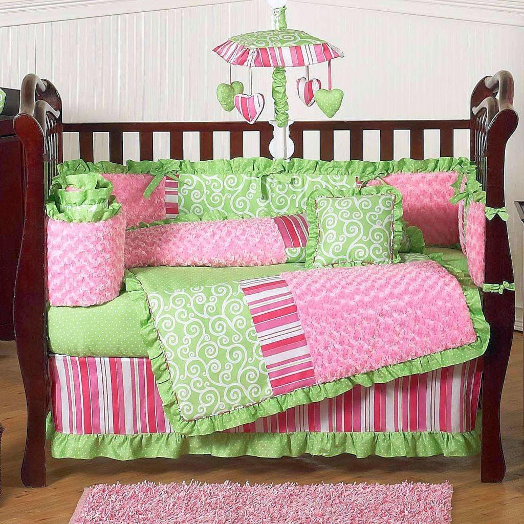 Bright Green Pink Cute Baby Girl Bedding Ideas
