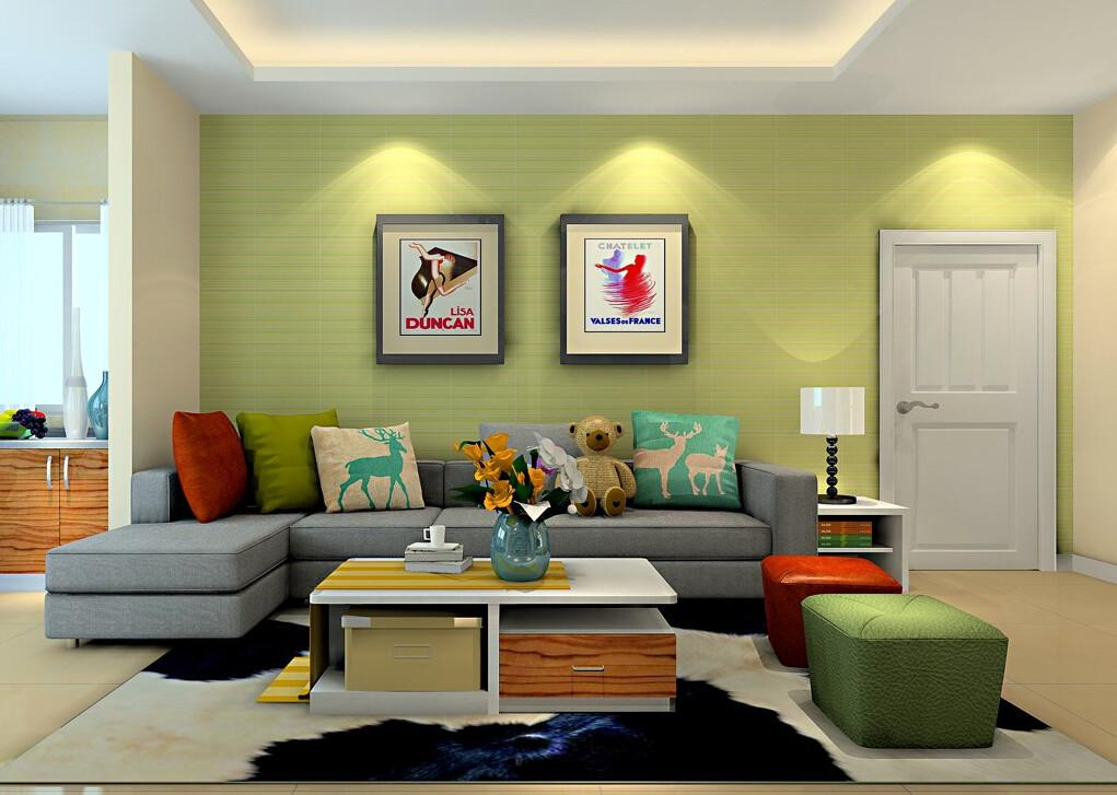 Bright Green Wall Living Room Sofa House