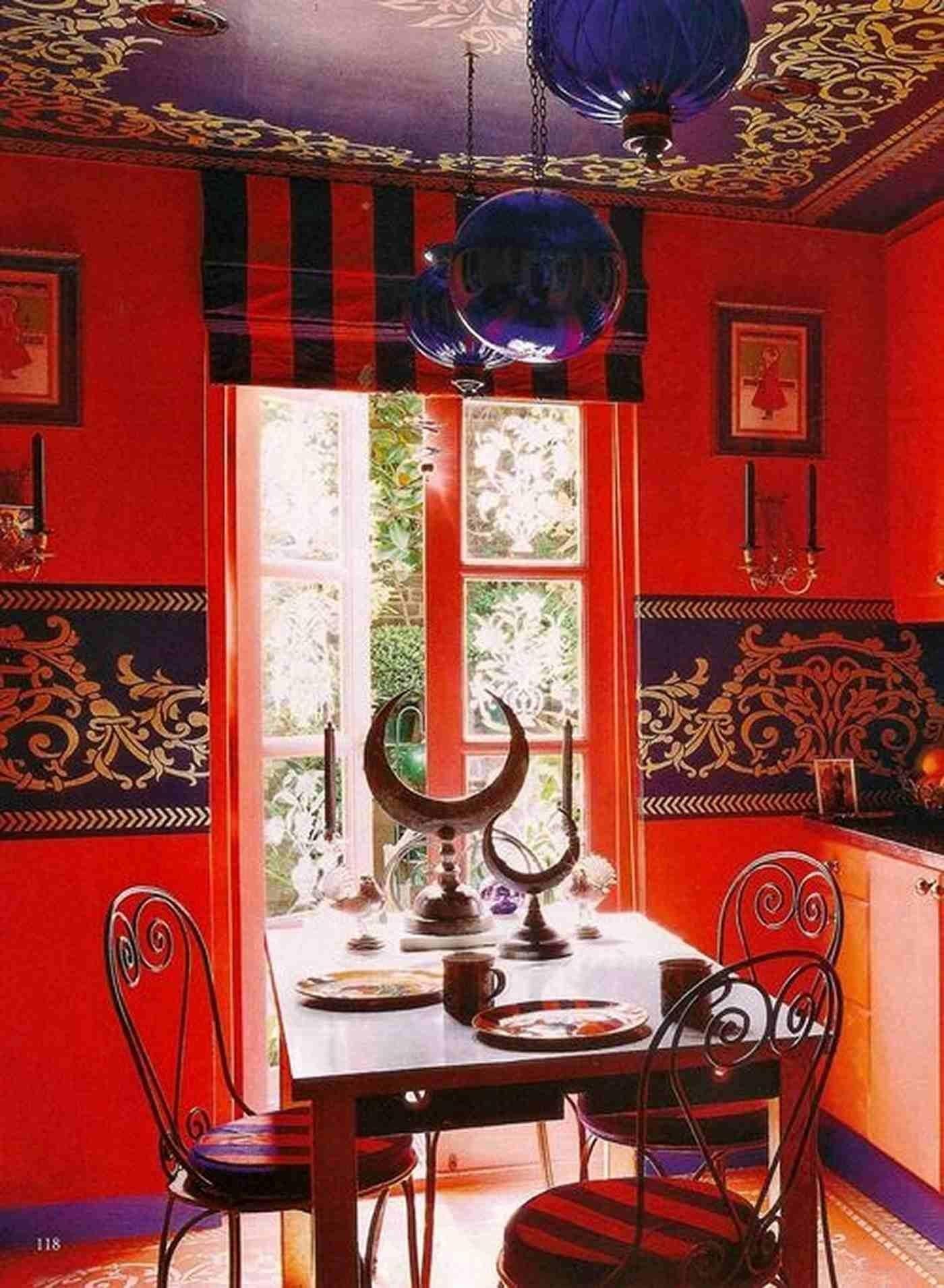 Bright Moroccan Dining Room Decoration Red Wall Paint