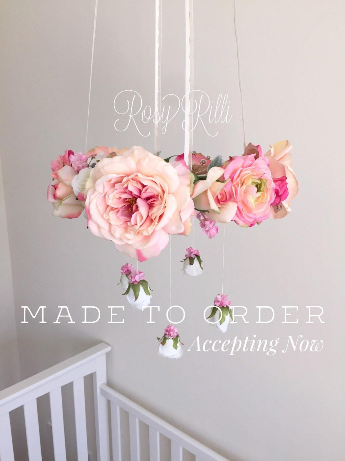 Bright Pink Gold Nursery Flower Mobile Crib
