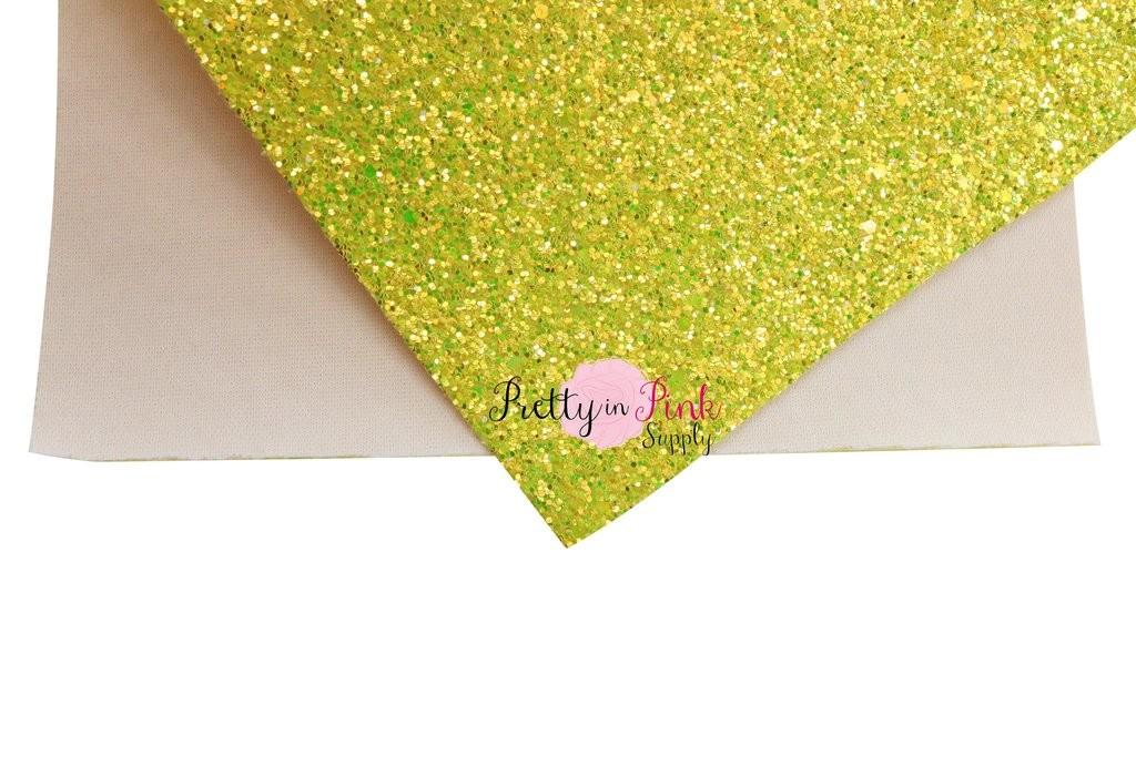 Bright Yellow Iridescent Chunky Glitter Fabric Sheet