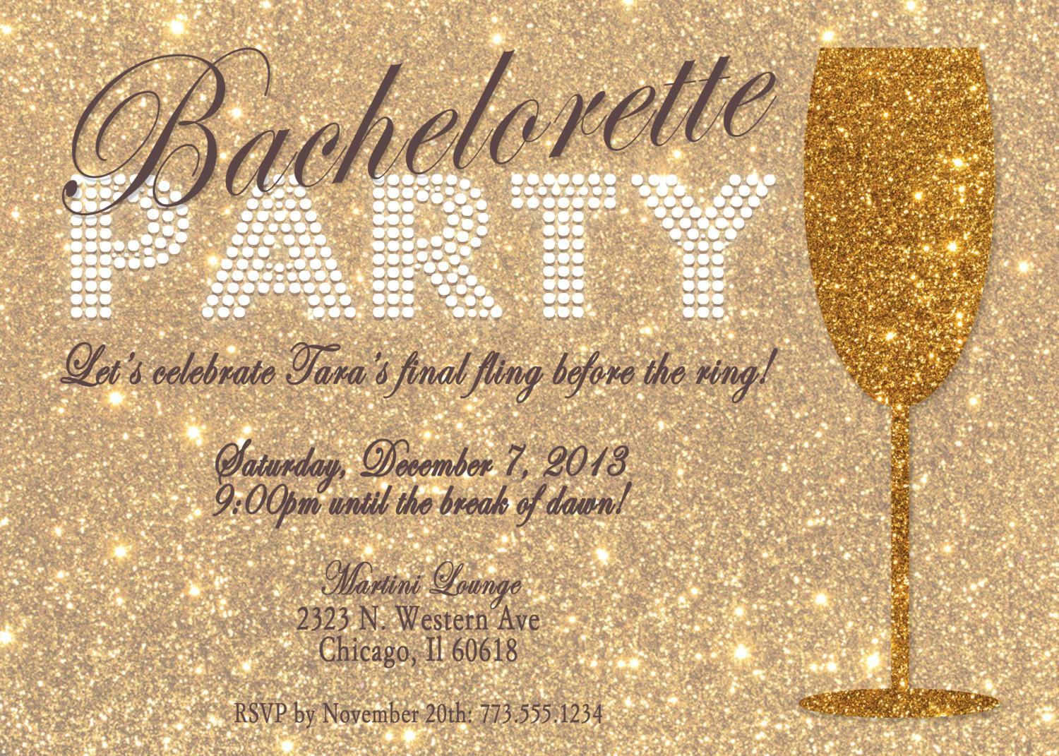 Brilliant Gold Glitter Bachelorette Party Invitation Card