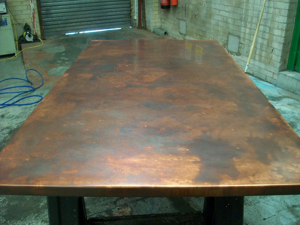 Bronze Aged Copper Table Top Variation Patina Fini
