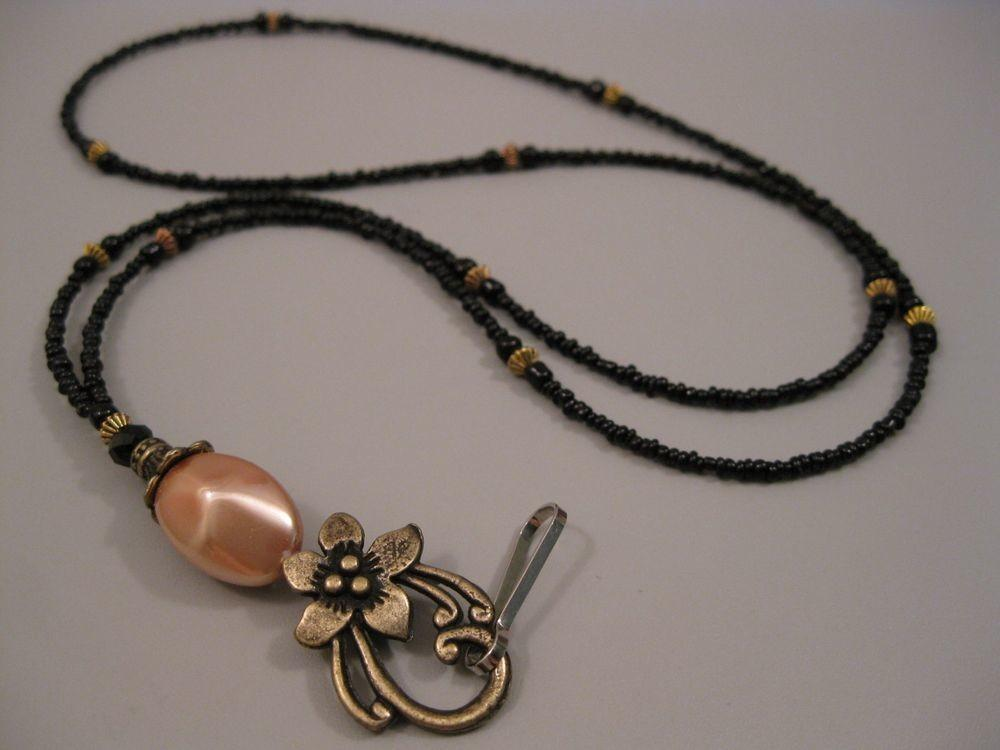 Bronze Flower Lanyard Necklace Handmade Beaded Badge