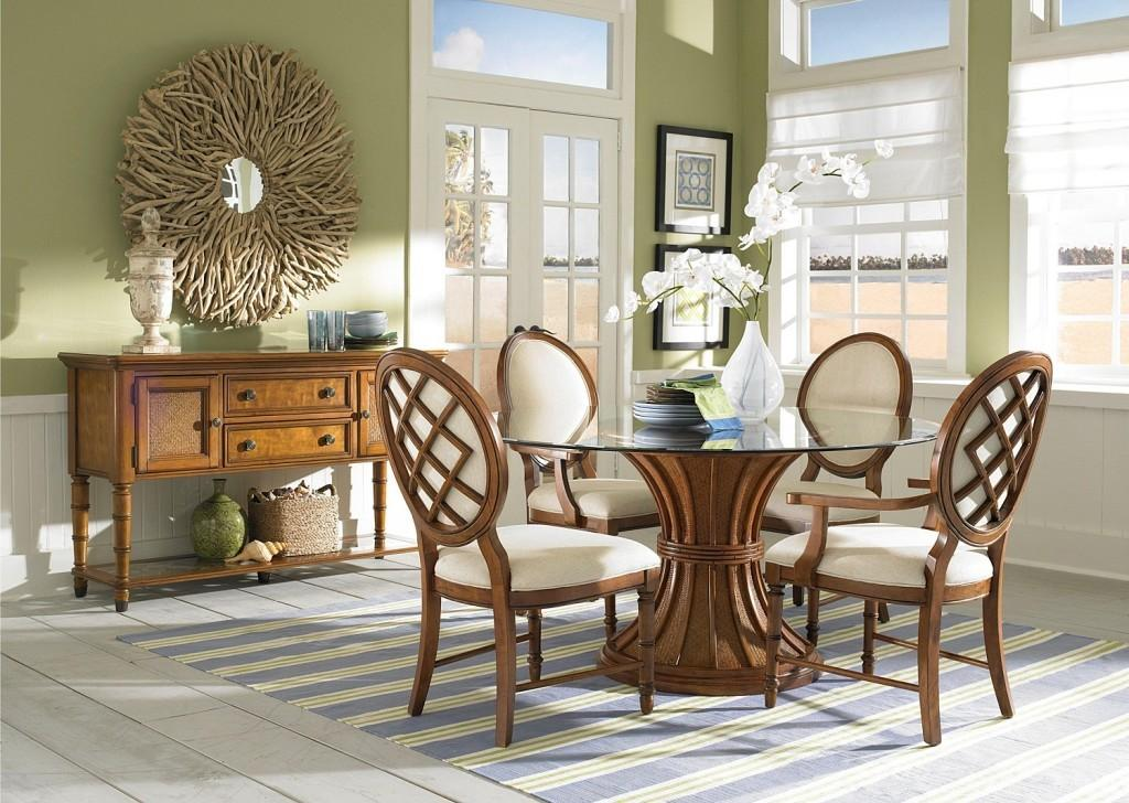 Brown Blue Dining Rooms Cottage Room White Chairs