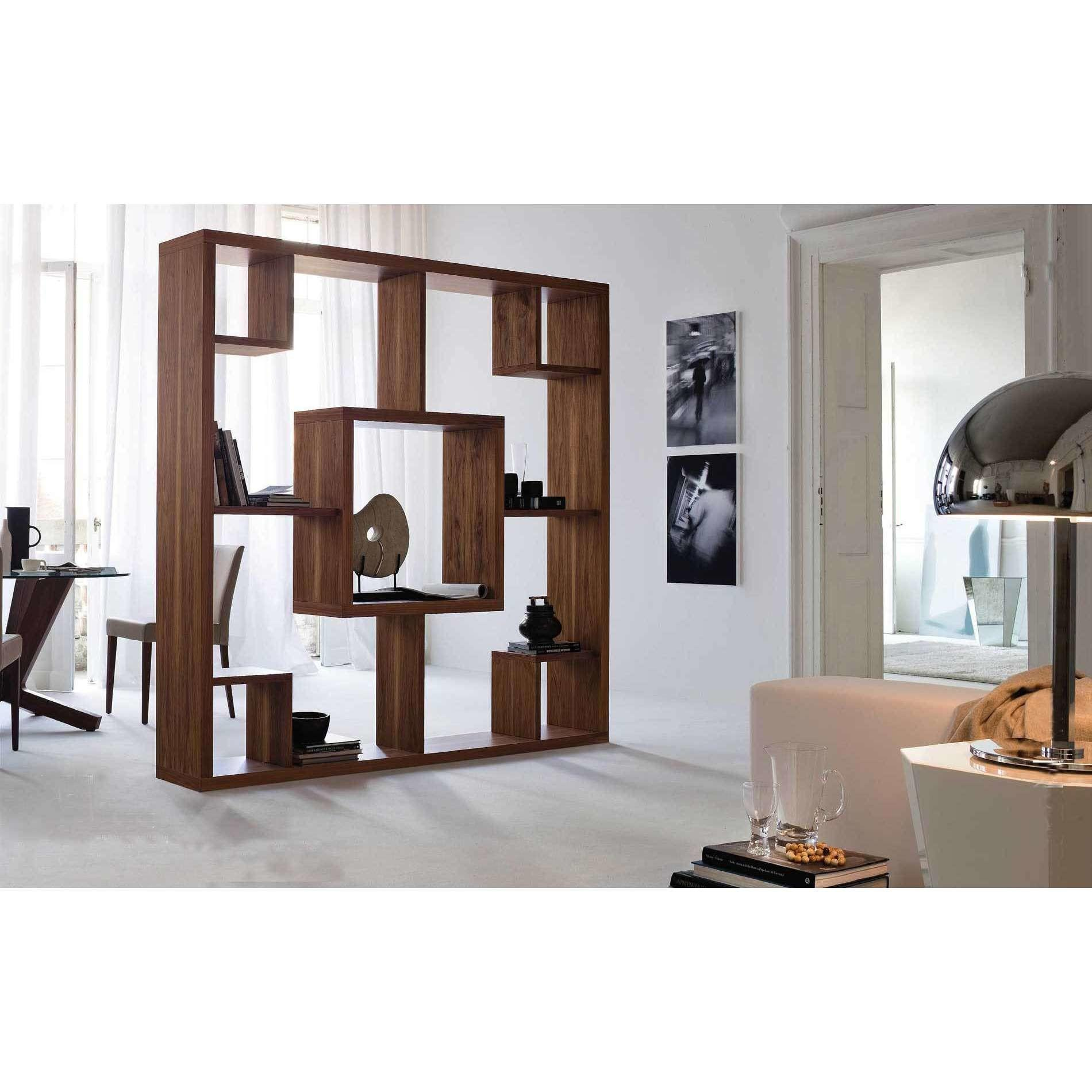 Brown Ebony Wood Bookcase Portable Room Divider Small