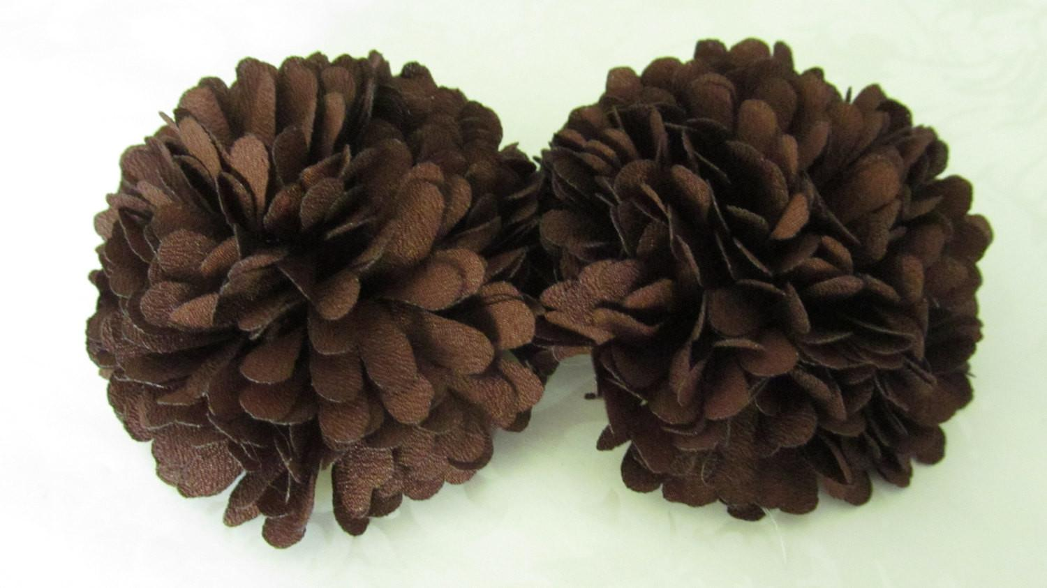 Brown Fabric Flower Hair Clips Pom