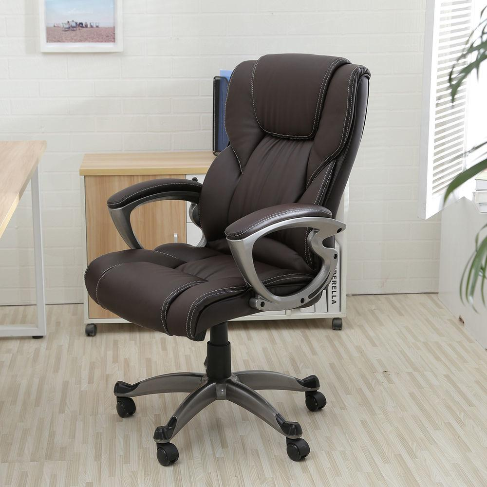 Brown Leather High Back Office Chair Executive Task