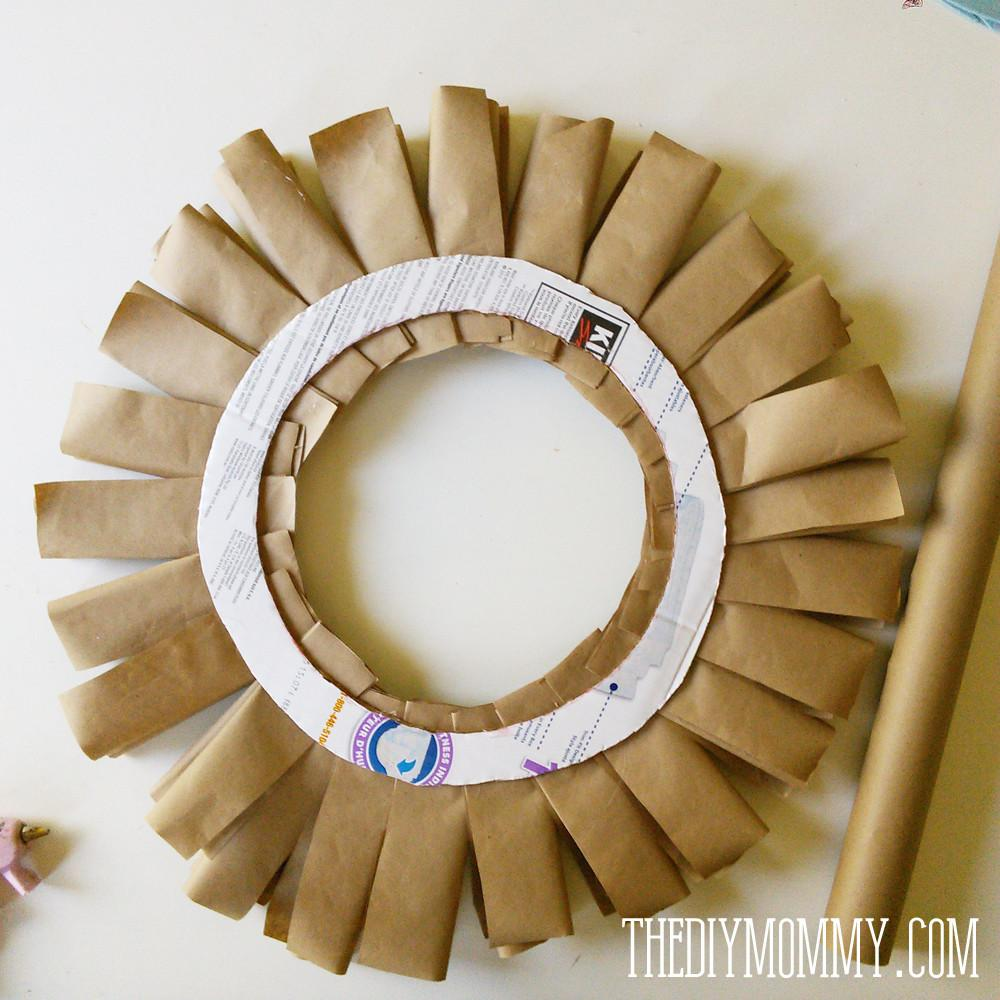 Brown Paper Book Burlap Rosette Fall Wreath
