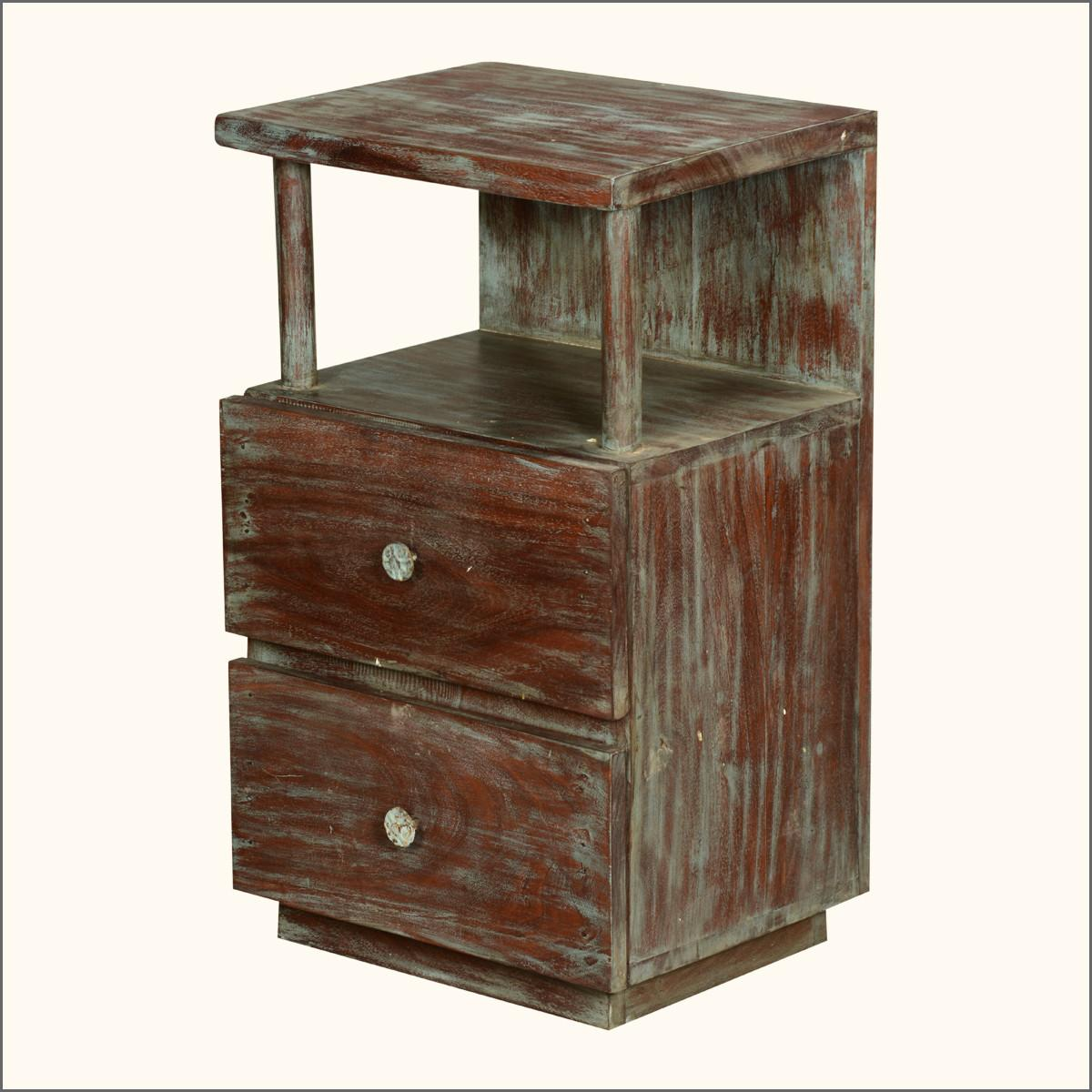 Brown Reclaimed Wood Nightstand Having Two Drawers Under