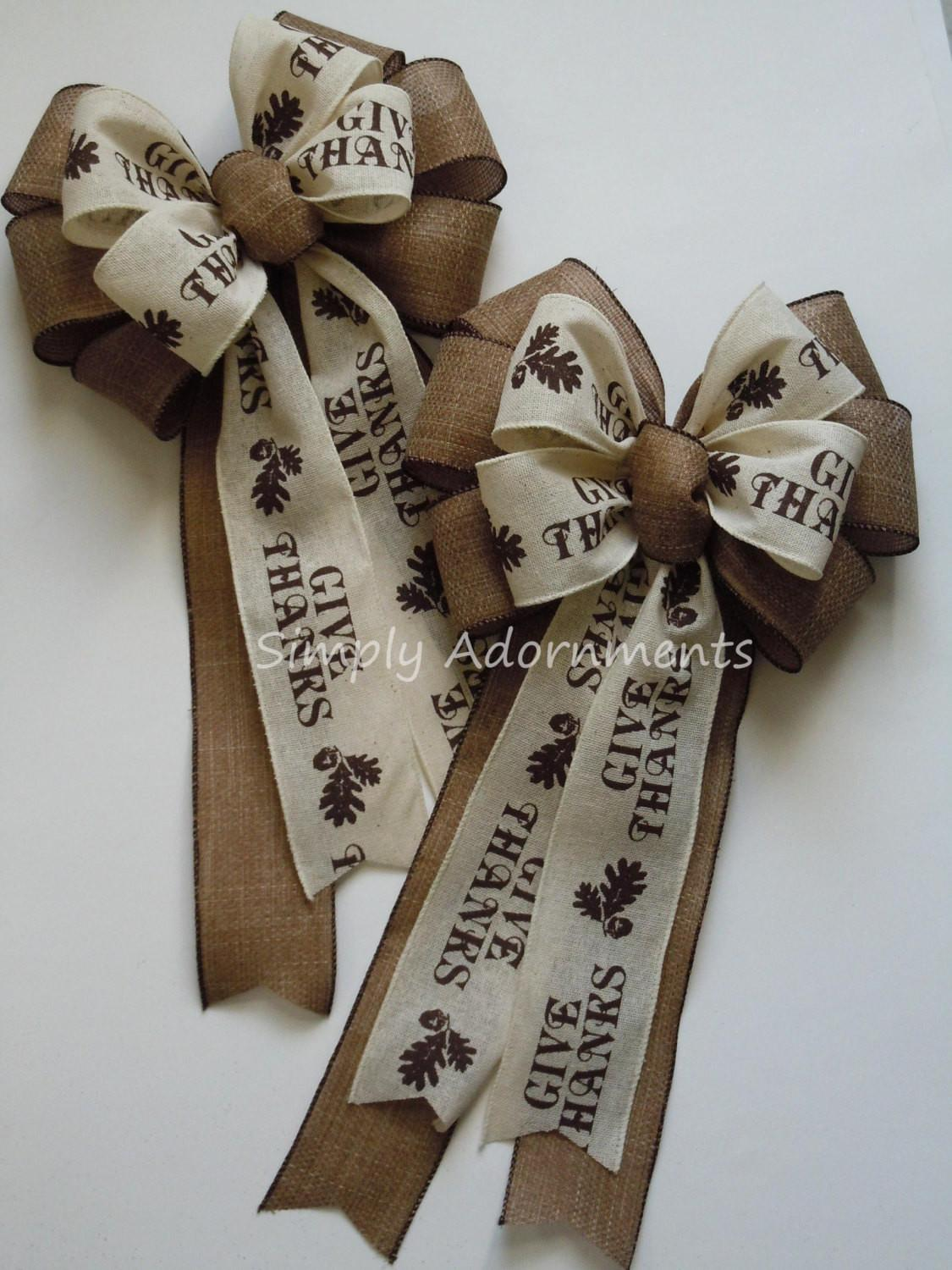 Brown Rustic Burlap Thanksgiving Wreath Bow Give Thanks