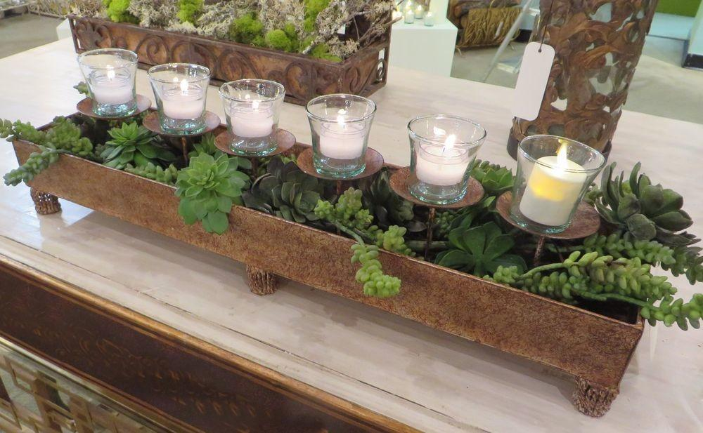 Brown Taupe Long Votive Candle Holder Centerpiece Planter