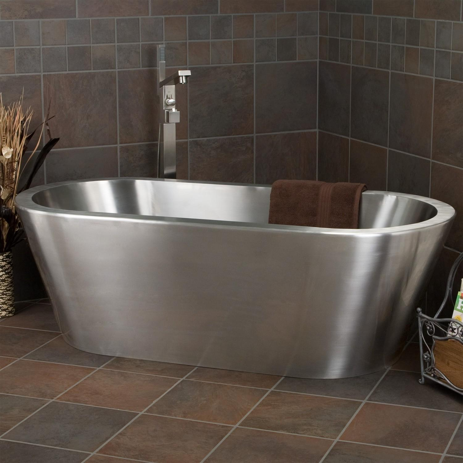 Brushed Stainless Steel Freestanding Tub Single Tap