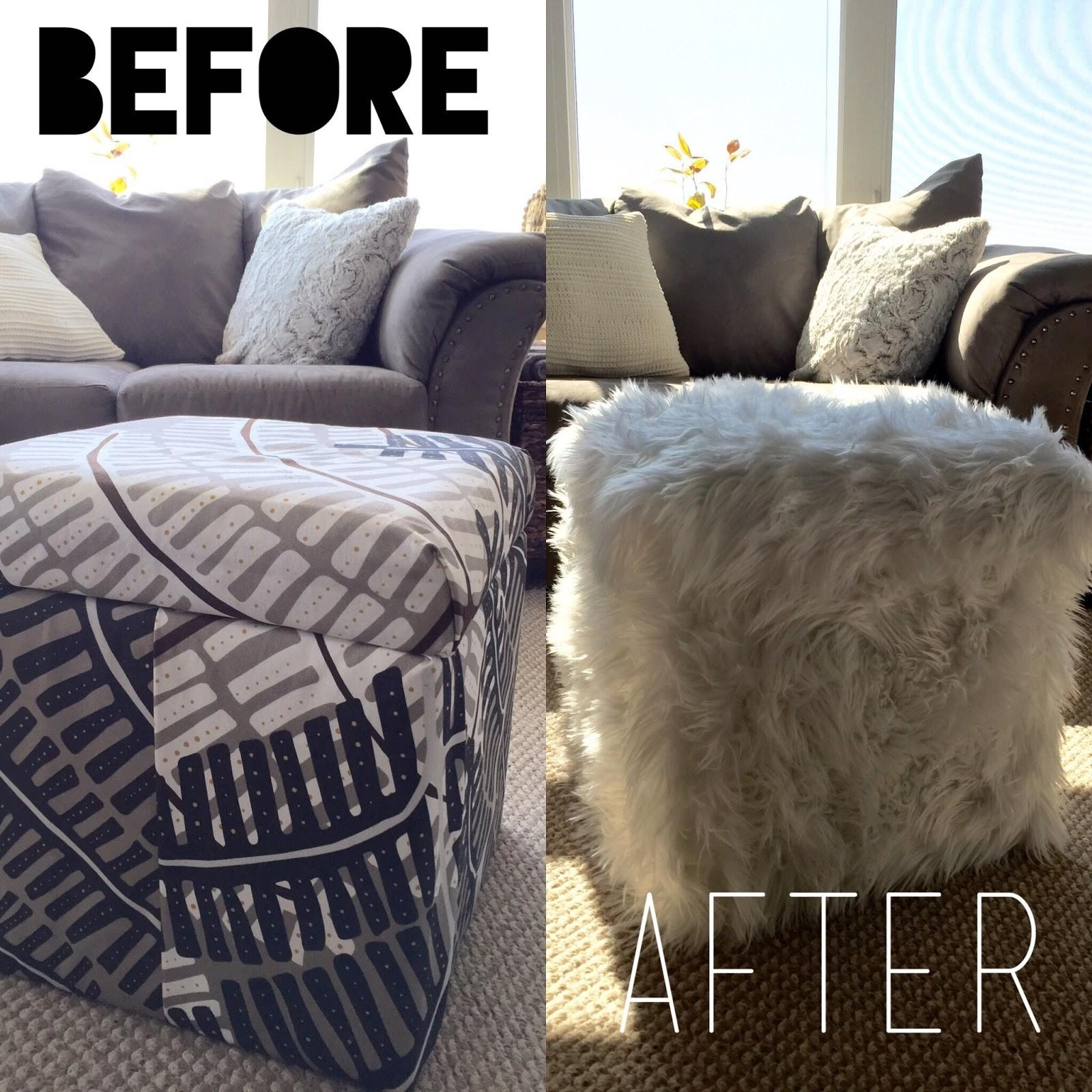 Brushes Bolts Faux Fur Ottoman