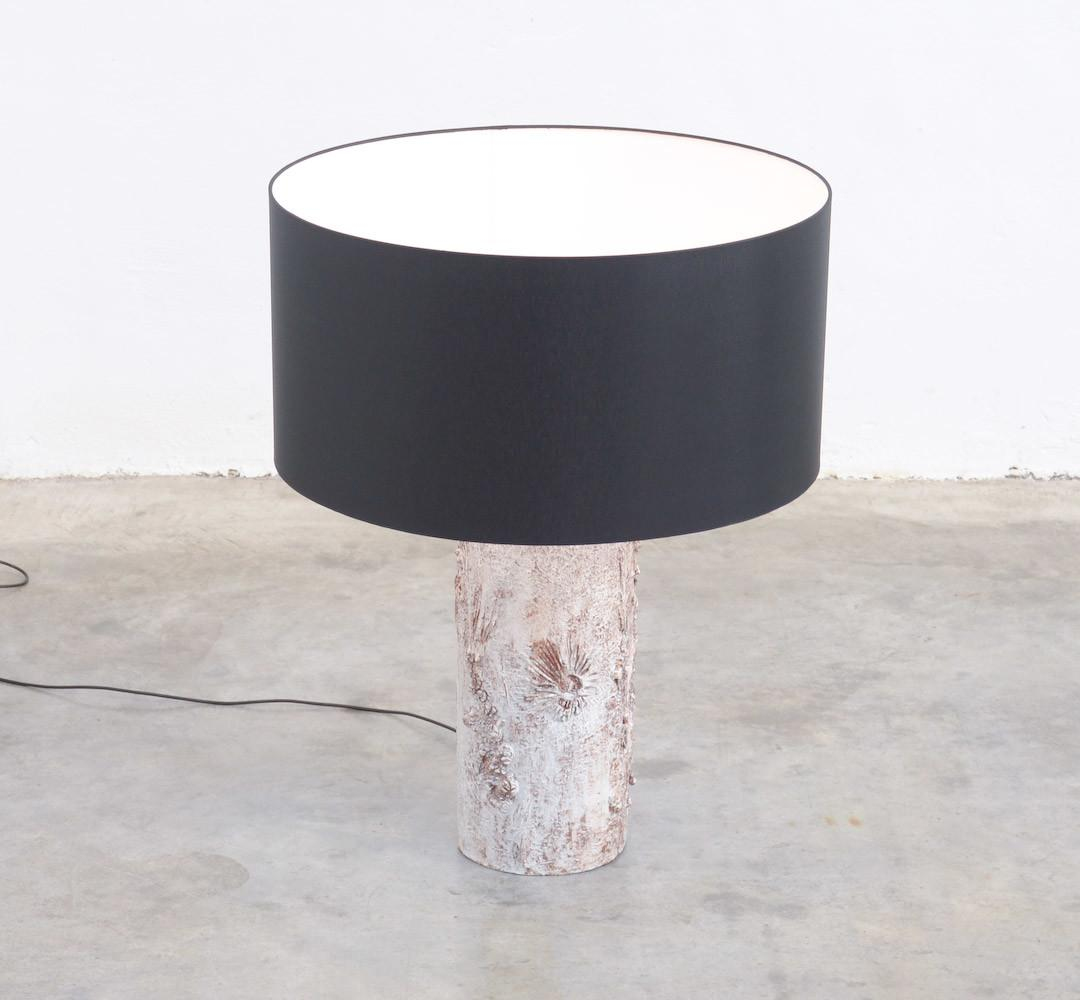 Brutalist White Ceramic Table Lamp Willy Meysmans