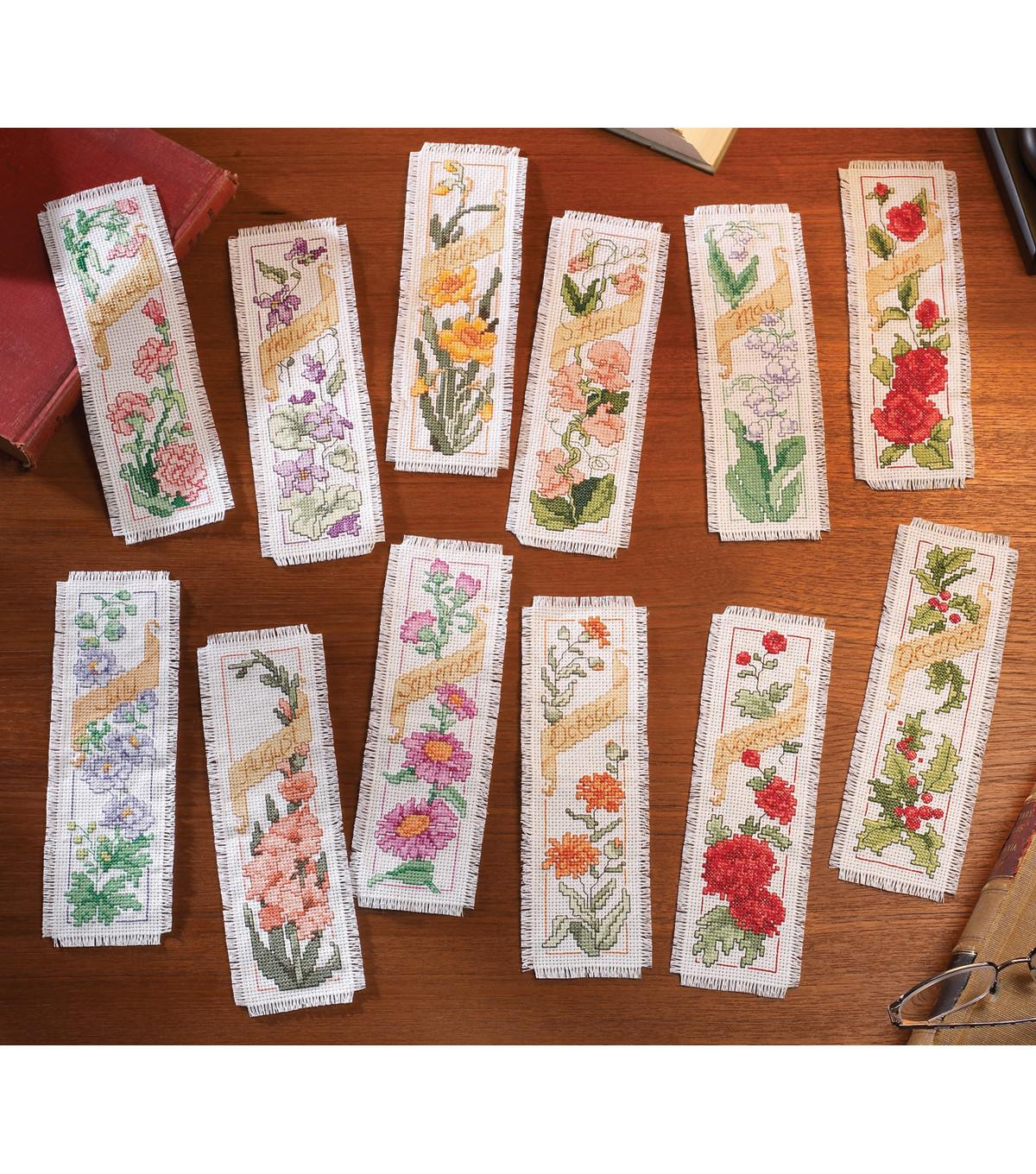 Bucilla Flowers Month Bookmarks Counted Cross
