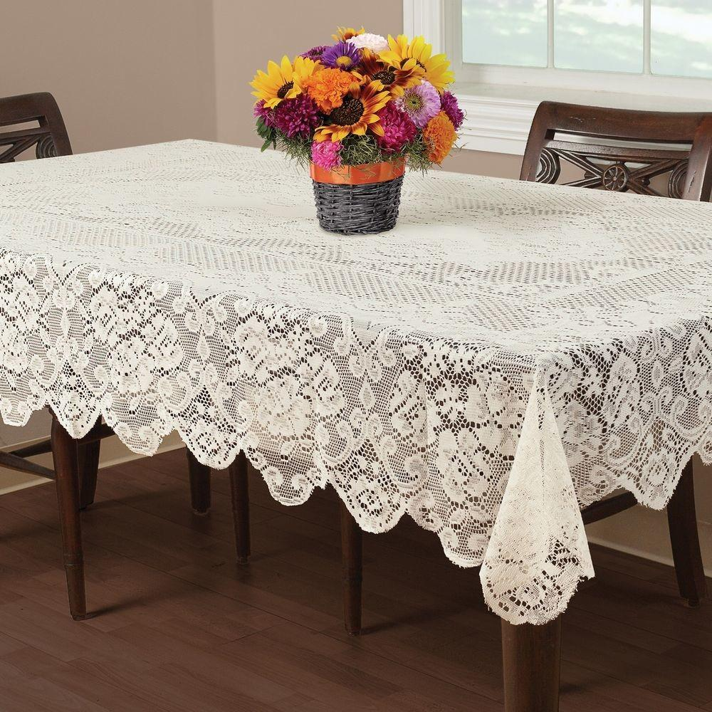 Buckingham Lace Tablecloth Ivory Wedding Floral
