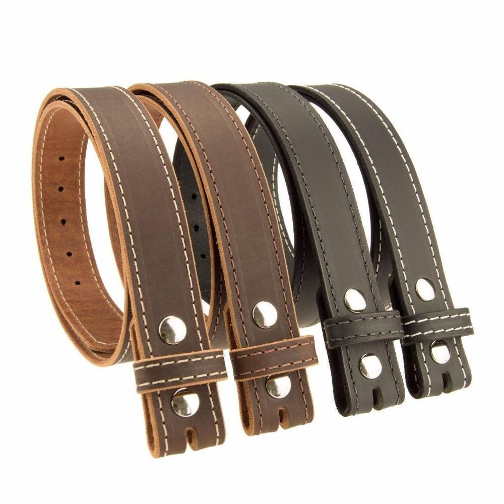 Buffalo Leather Stitched Casual Belt Strap Buckle