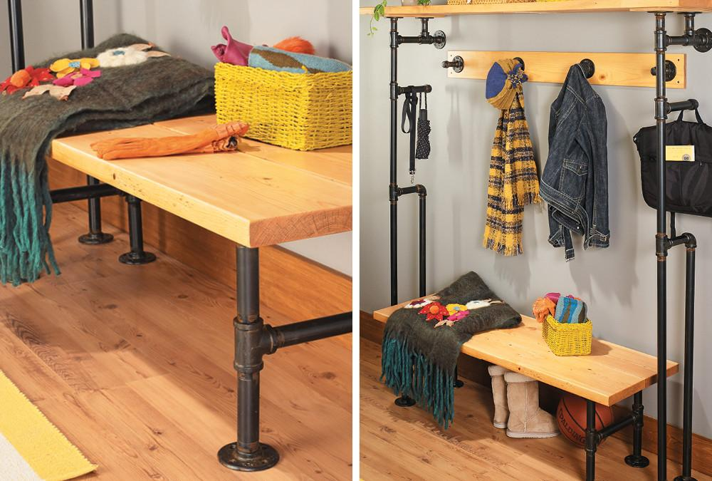 Build Bench Coat Rack Pipes Home Style