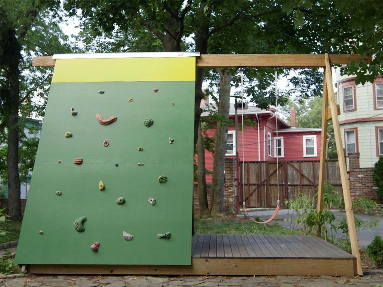 Build Combination Swing Set Playhouse Climbing Wall