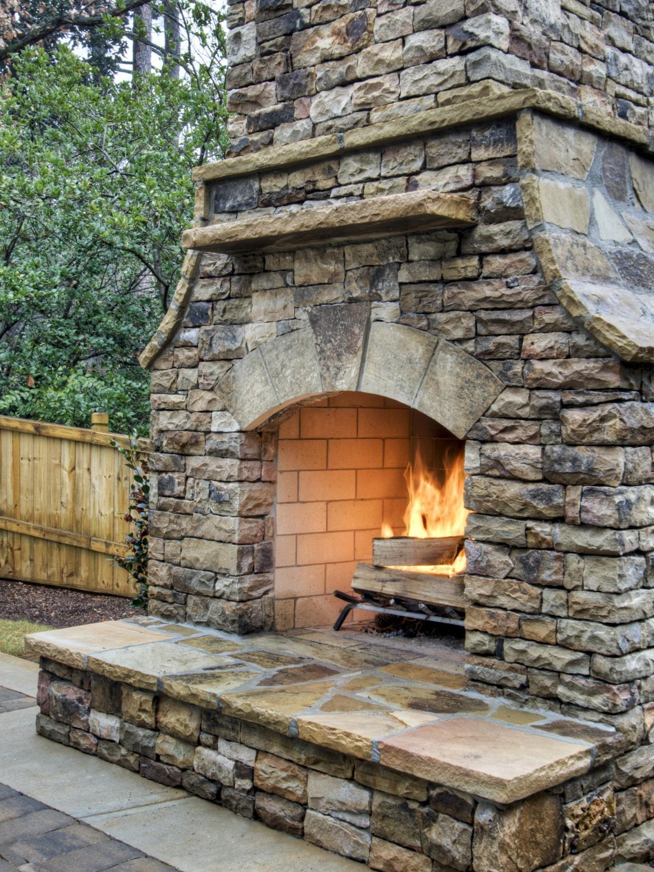 Build Outdoor Stacked Stone Fireplace