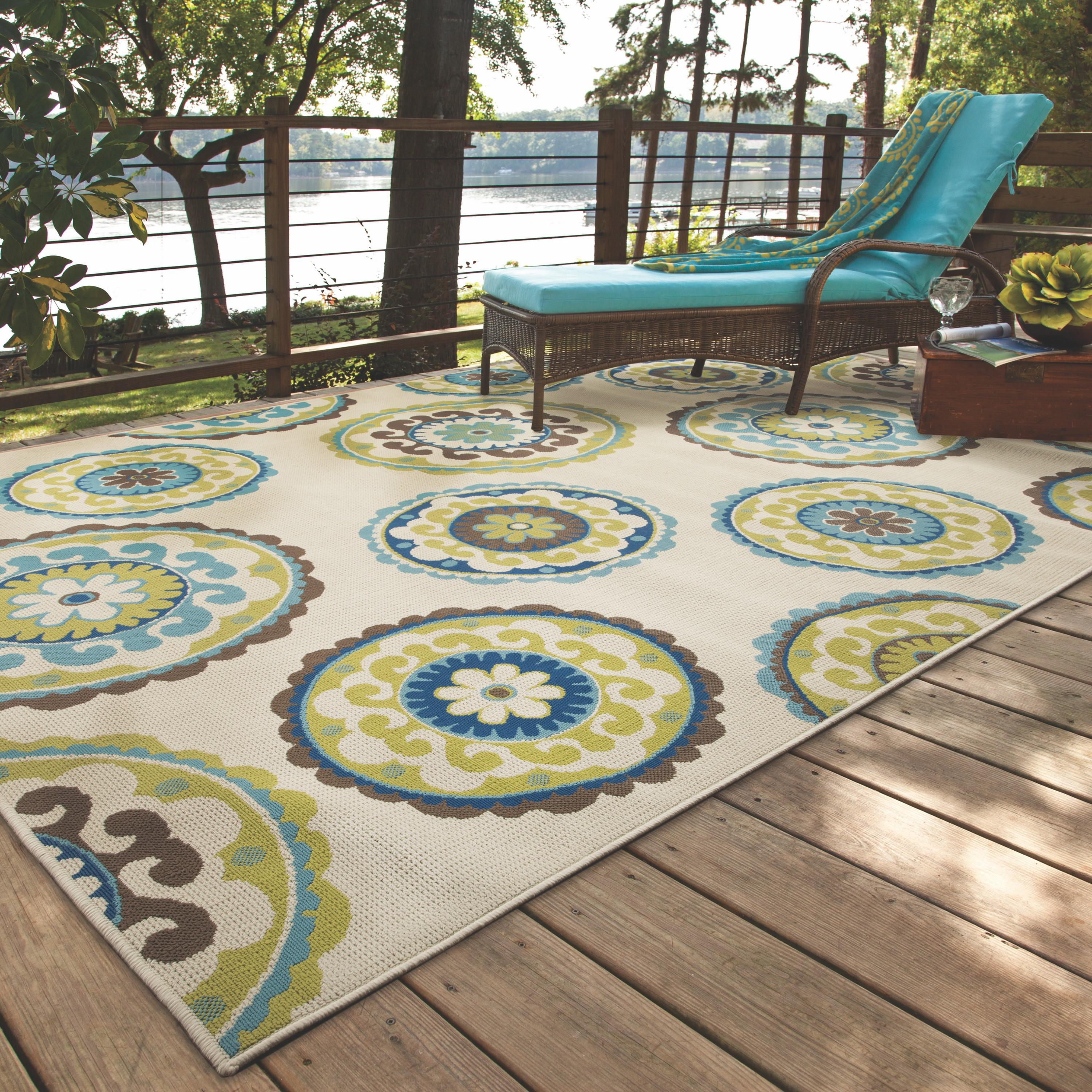 Bungalow Rose Capri Beige Green Indoor Outdoor Area Rug
