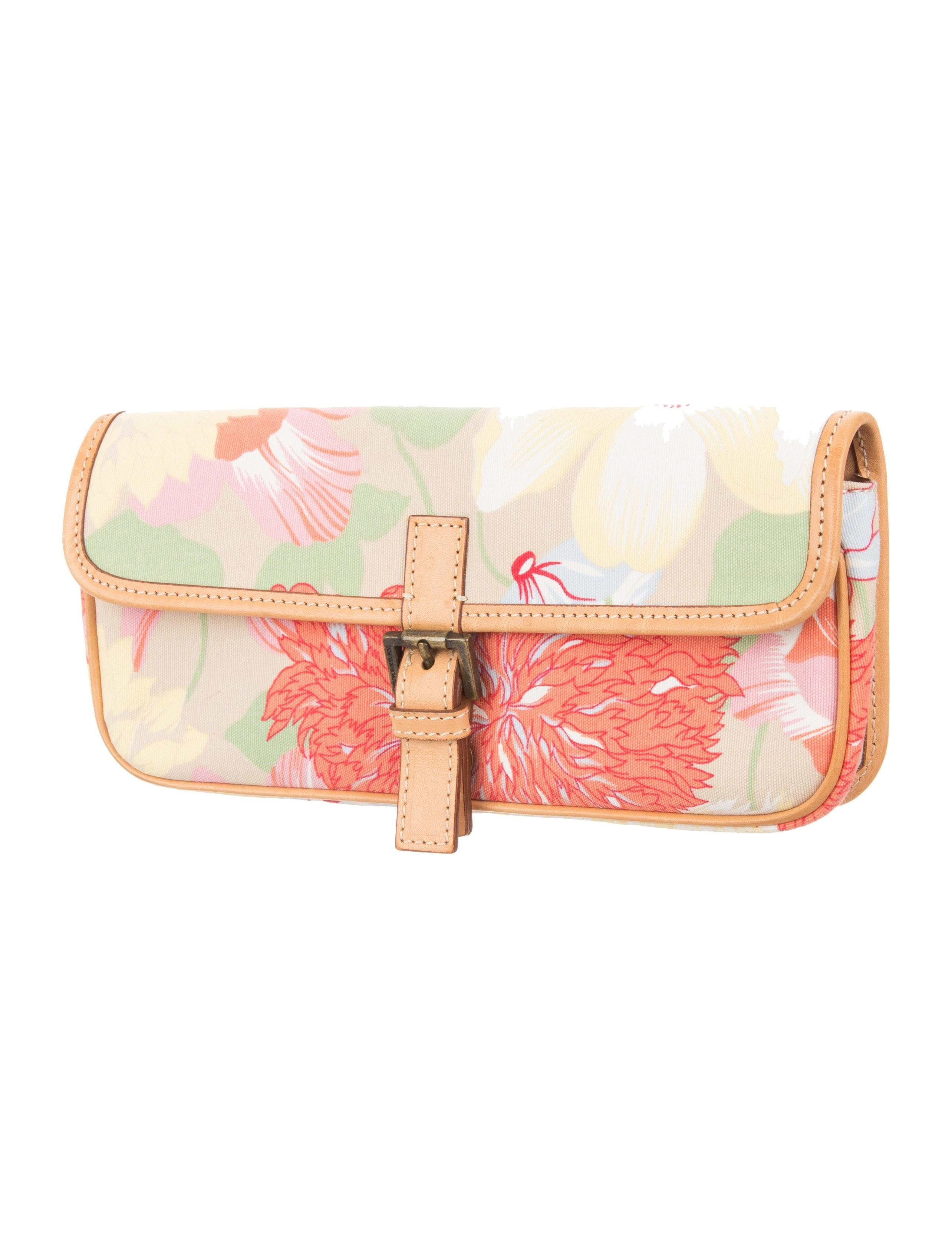 Burberry Leather Trimmed Floral Clutch Handbags