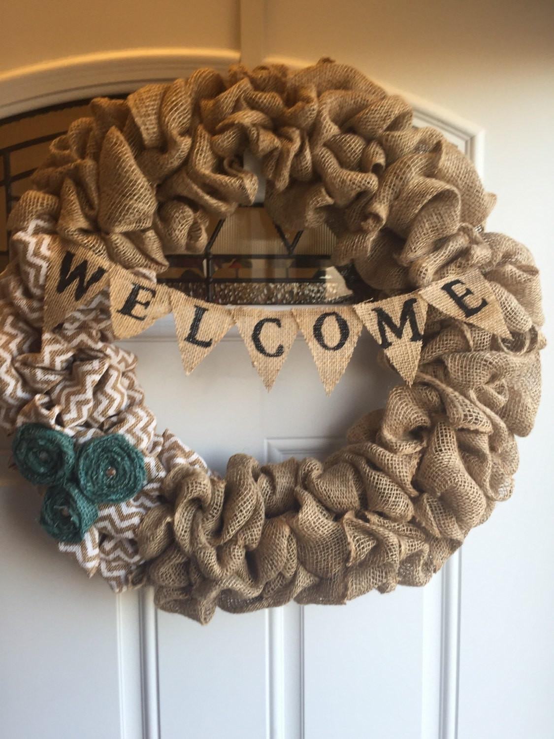 Burlap Bubble Wreath Welcome Countrychiks