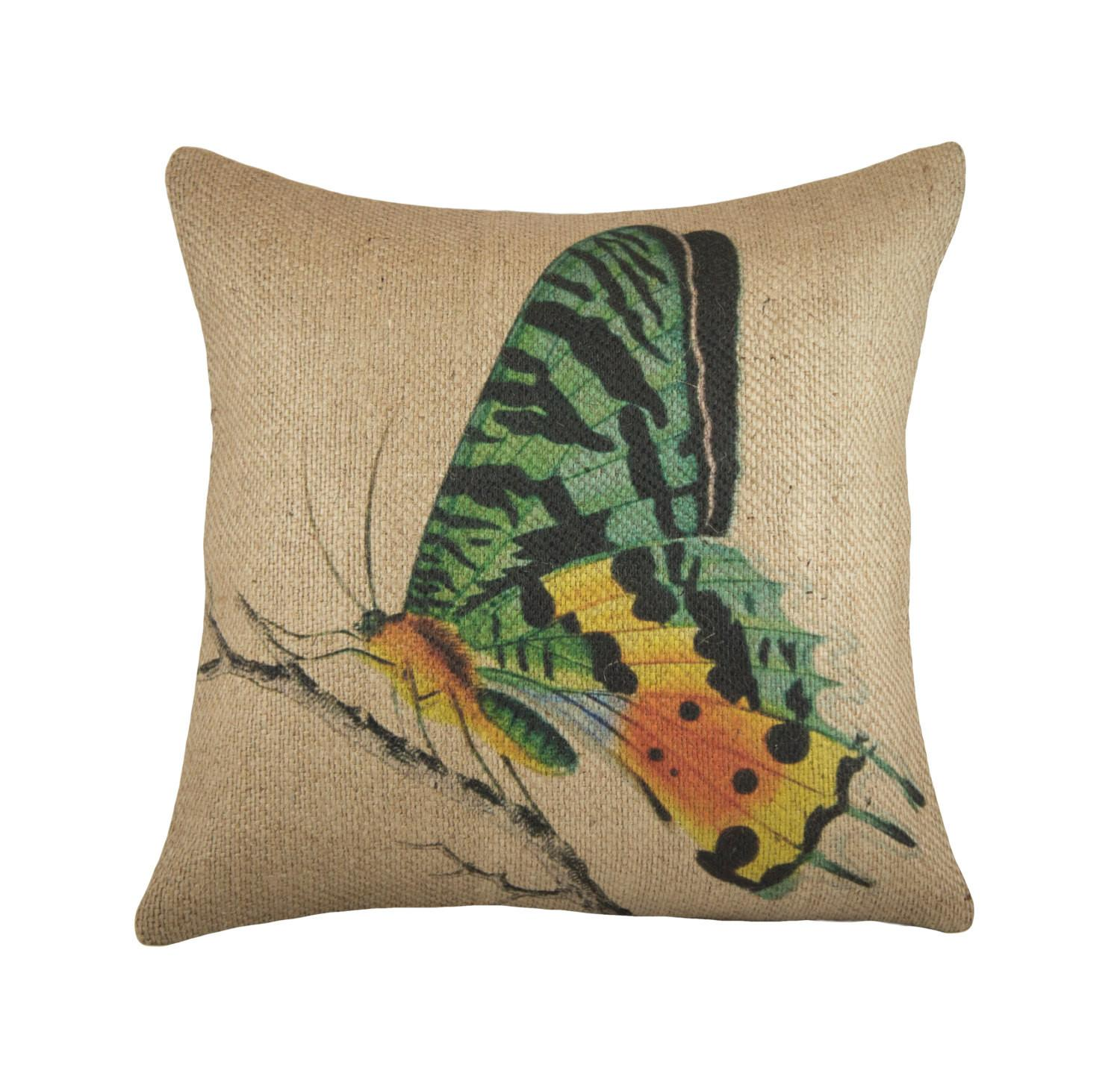 Burlap Butterfly Pillow Cover Decorative Throw