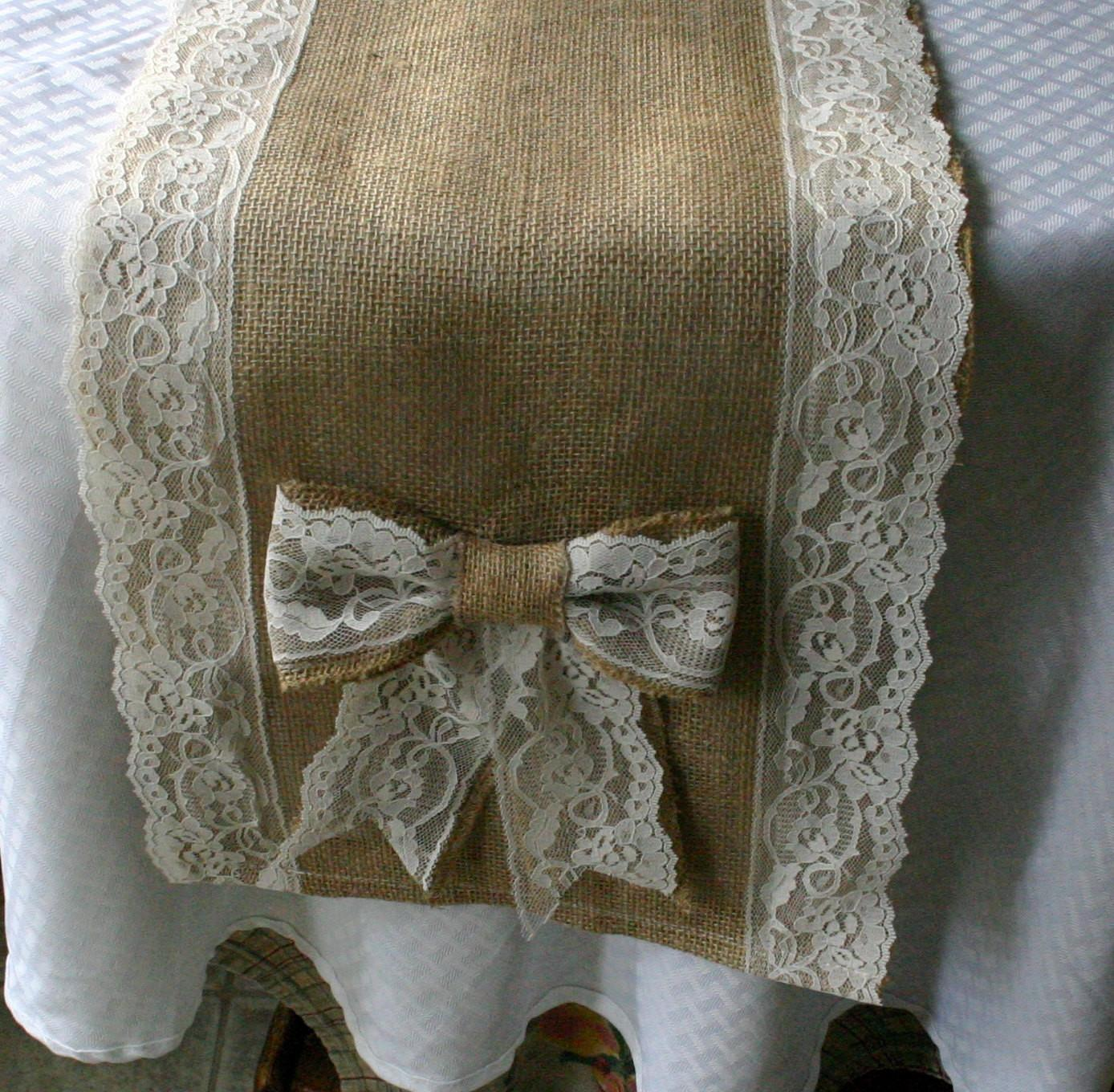 Burlap Lace Table Runners French