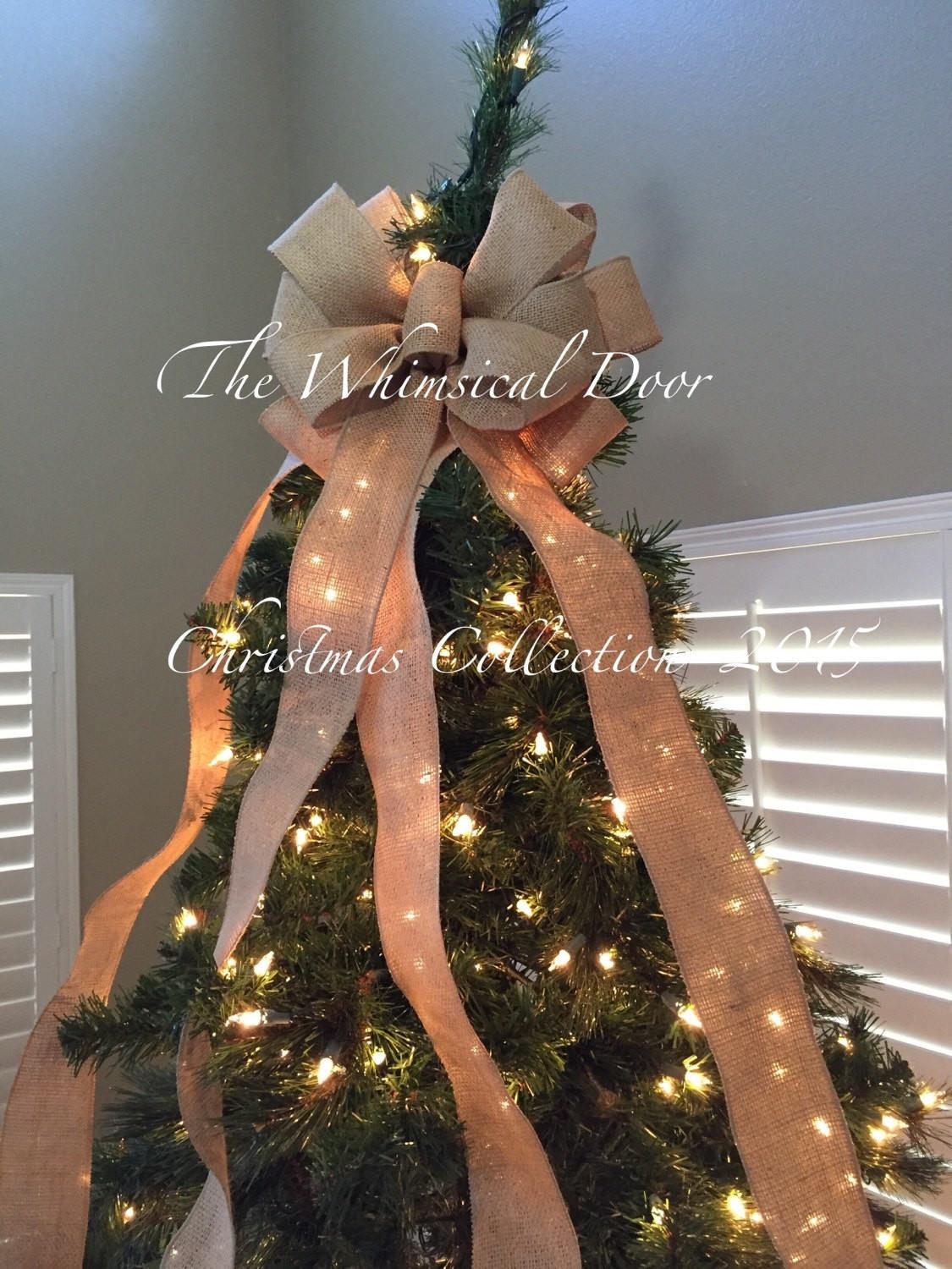 Burlap Tree Bow Christmas Topper Whimsical