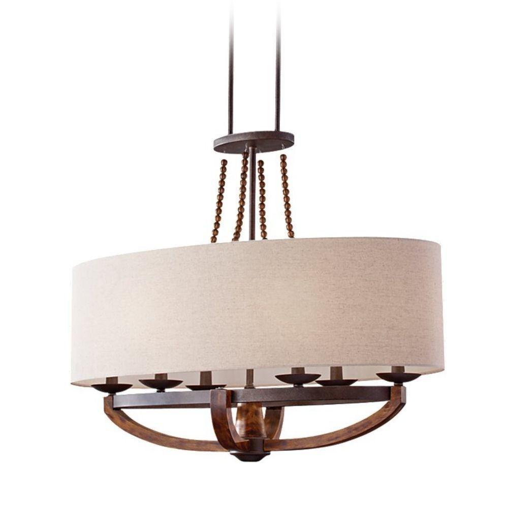 Burnished Wood Pendant Light Oval Shade Six