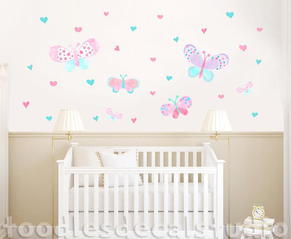 Butterfly Wall Decal Girls Nursery Eco Friendly Fabric