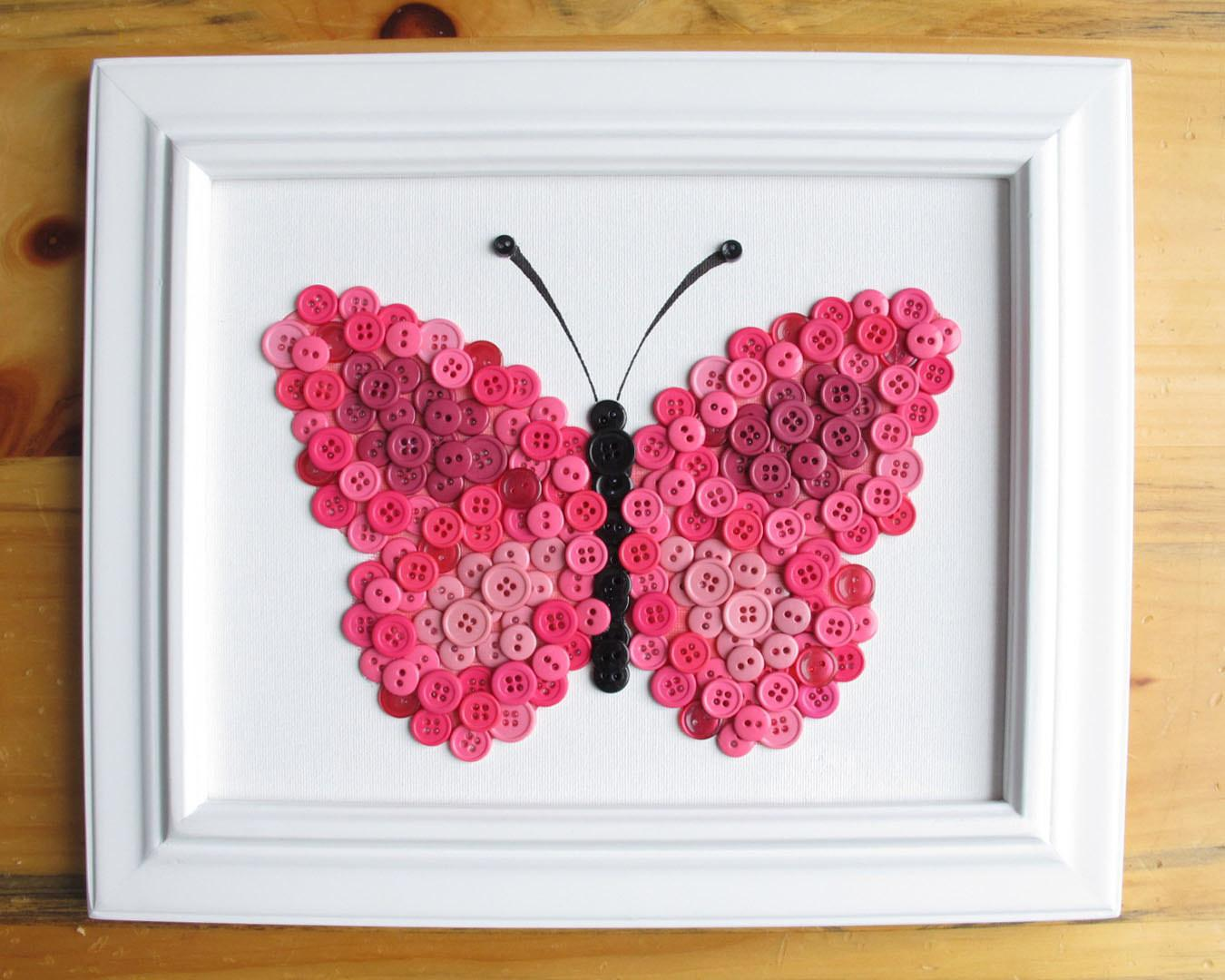 Button Art Animal Butterfly Pink Canvas Panel