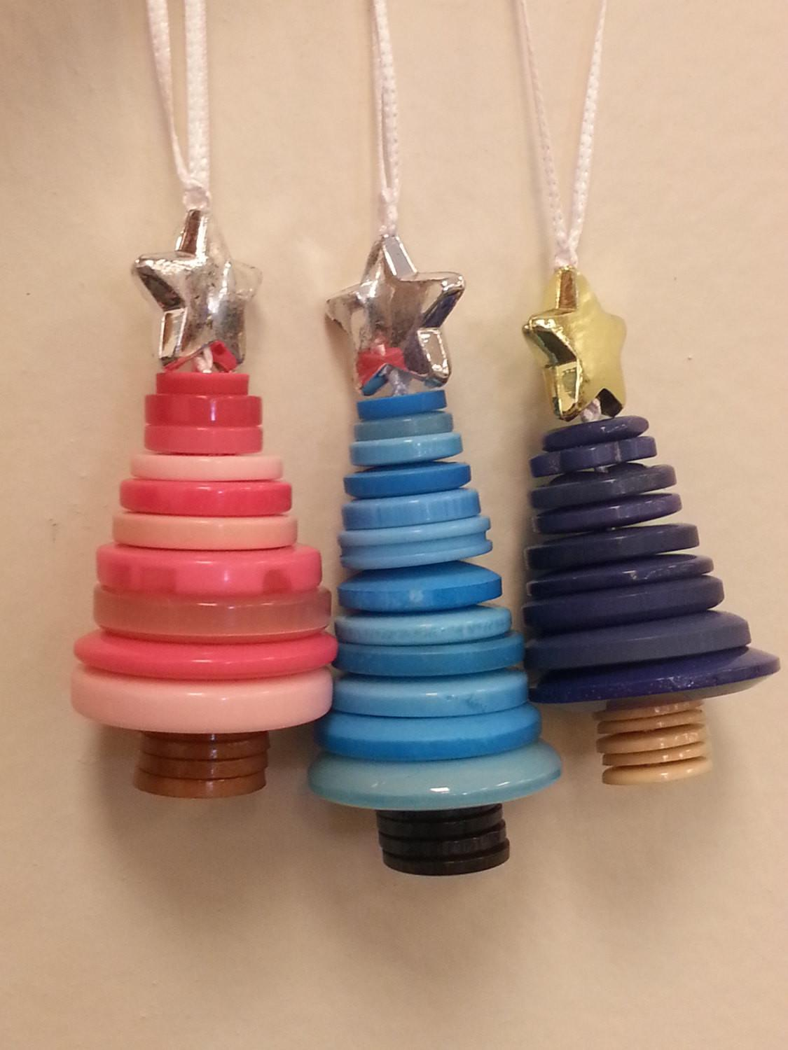 Button Christmas Tree Ornaments