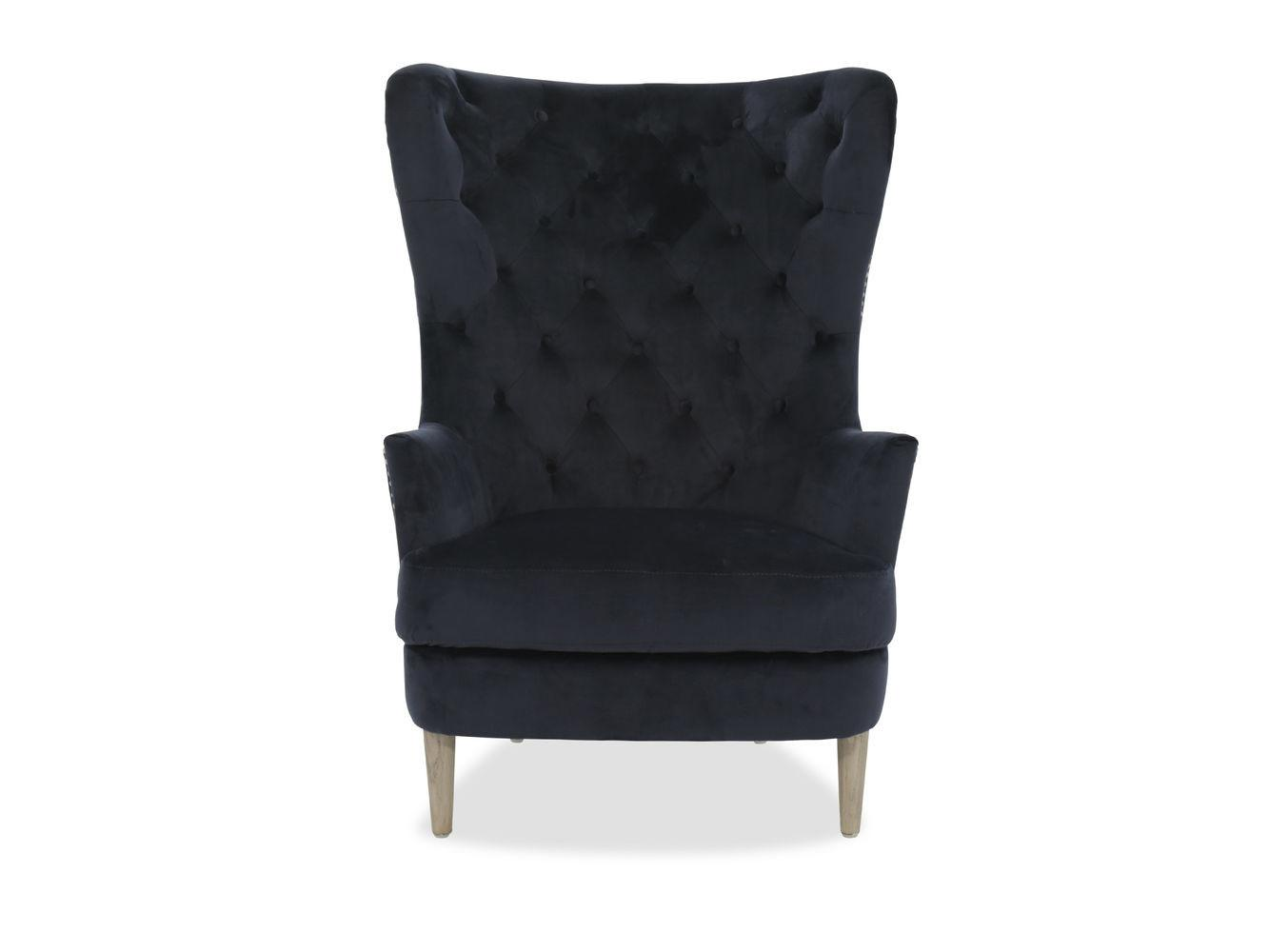 Button Tufted Modern Velvet Accent Chair Navy Blue