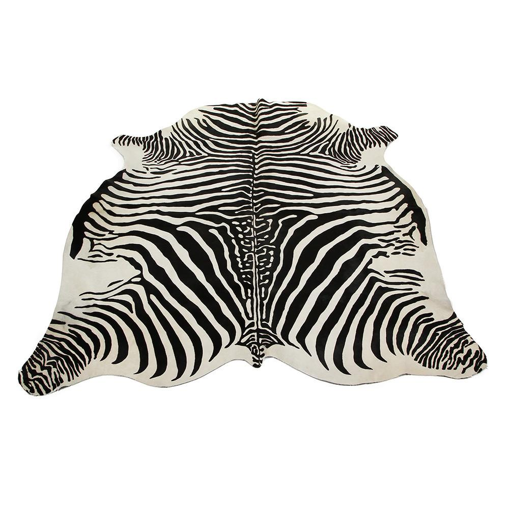Buy Amara Zebra Printed Cowhide Rug Black White