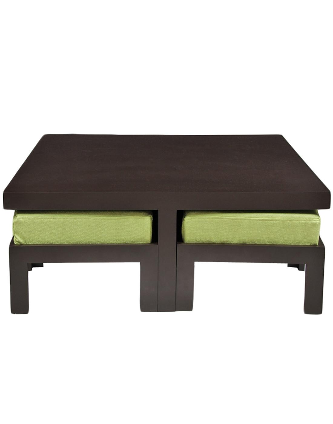 Buy Arra Trendy Coffee Table Four Stools Green
