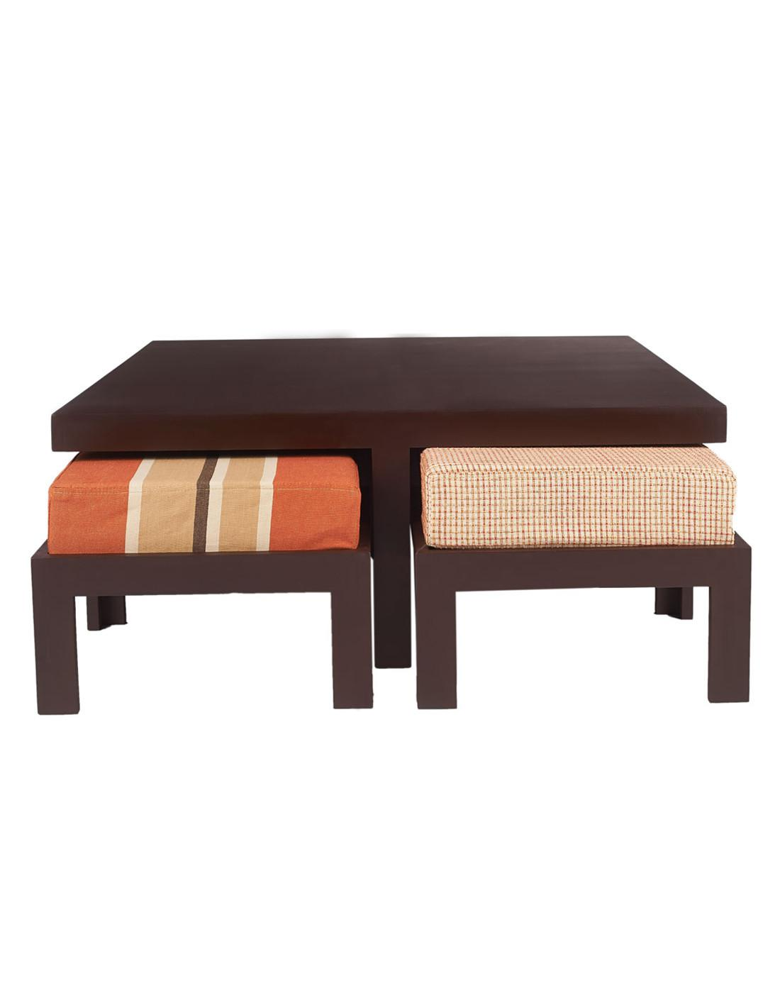 Buy Arra Trendy Coffee Table Four Stools Rust