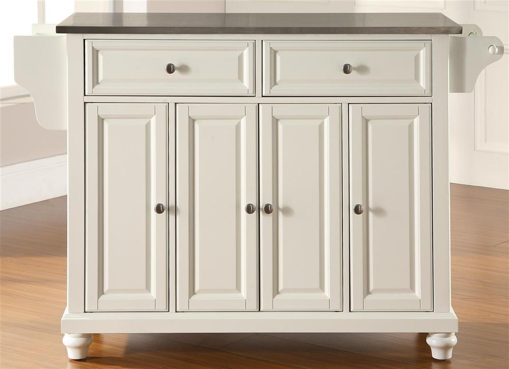 Buy Cambridge Stainless Steel Top Kitchen Island White