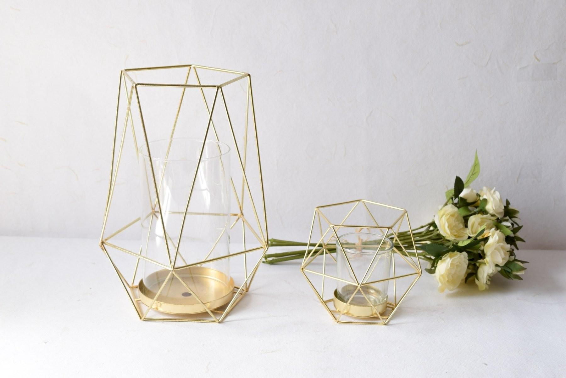 Buy Geometric Gold Candle Holder Small Home Artisan