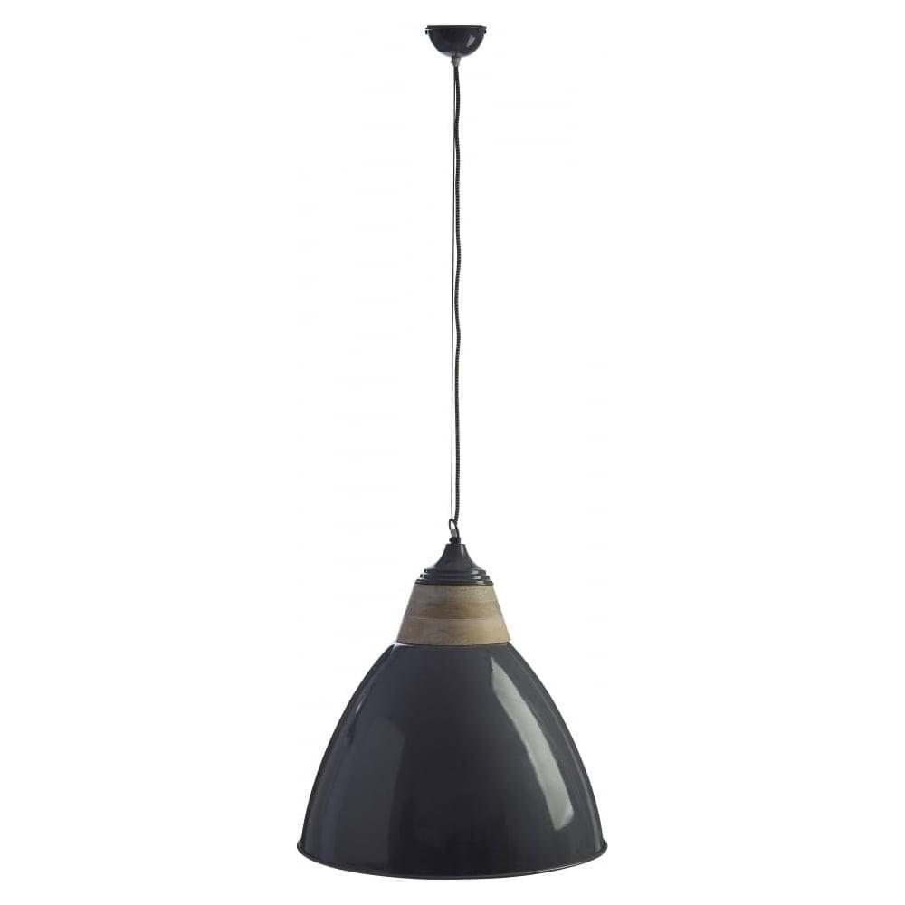 Buy Oversized Iron Wood Domed Grey Pendant Light