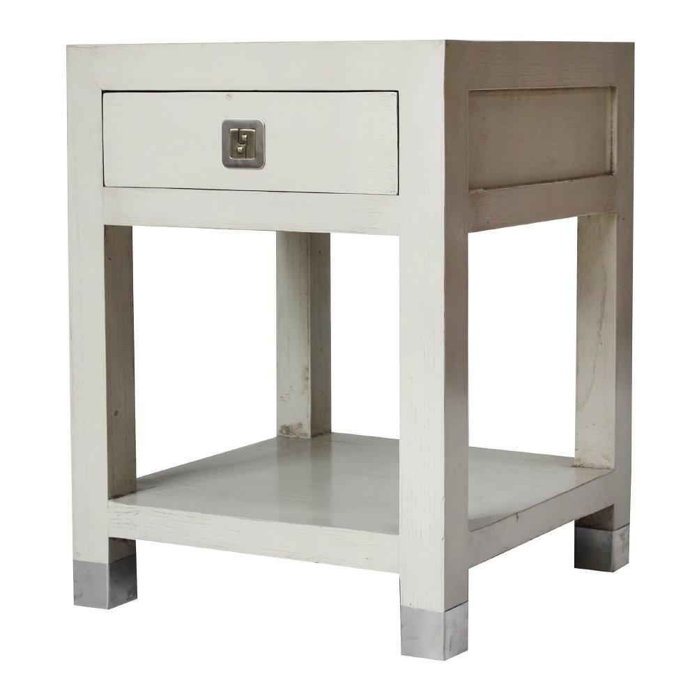 Buy Qing Dao Ivory White Contemporary Side Table
