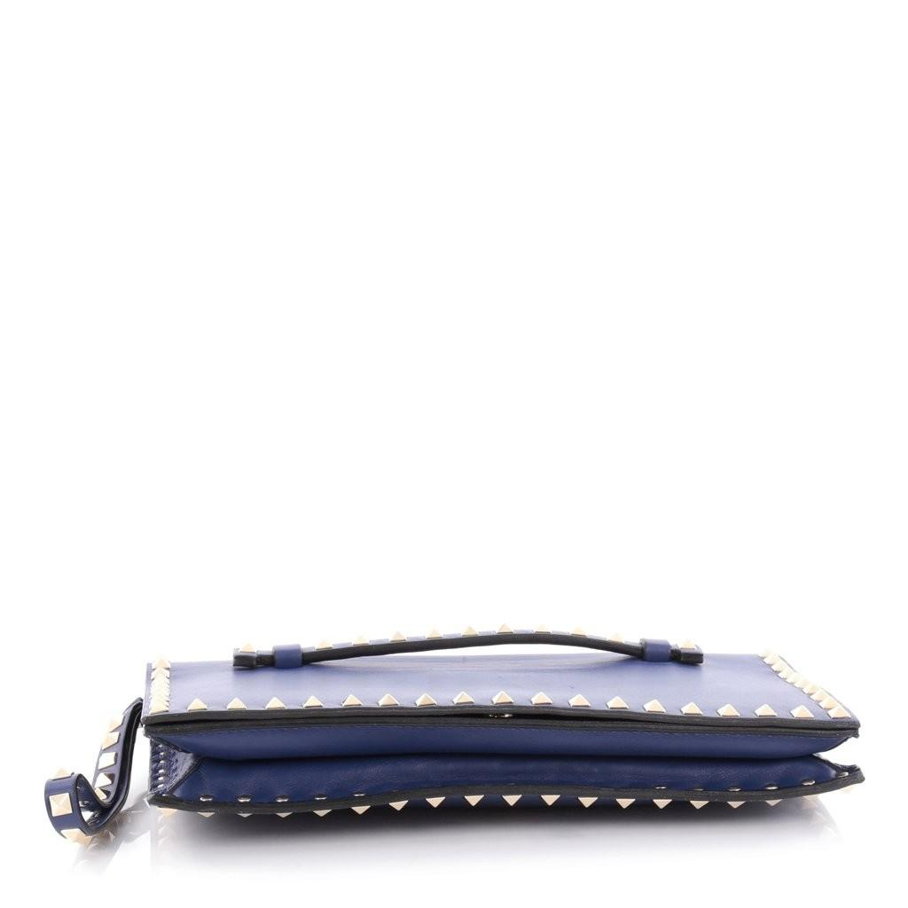 Buy Valentino Rockstud Flap Clutch Leather Blue