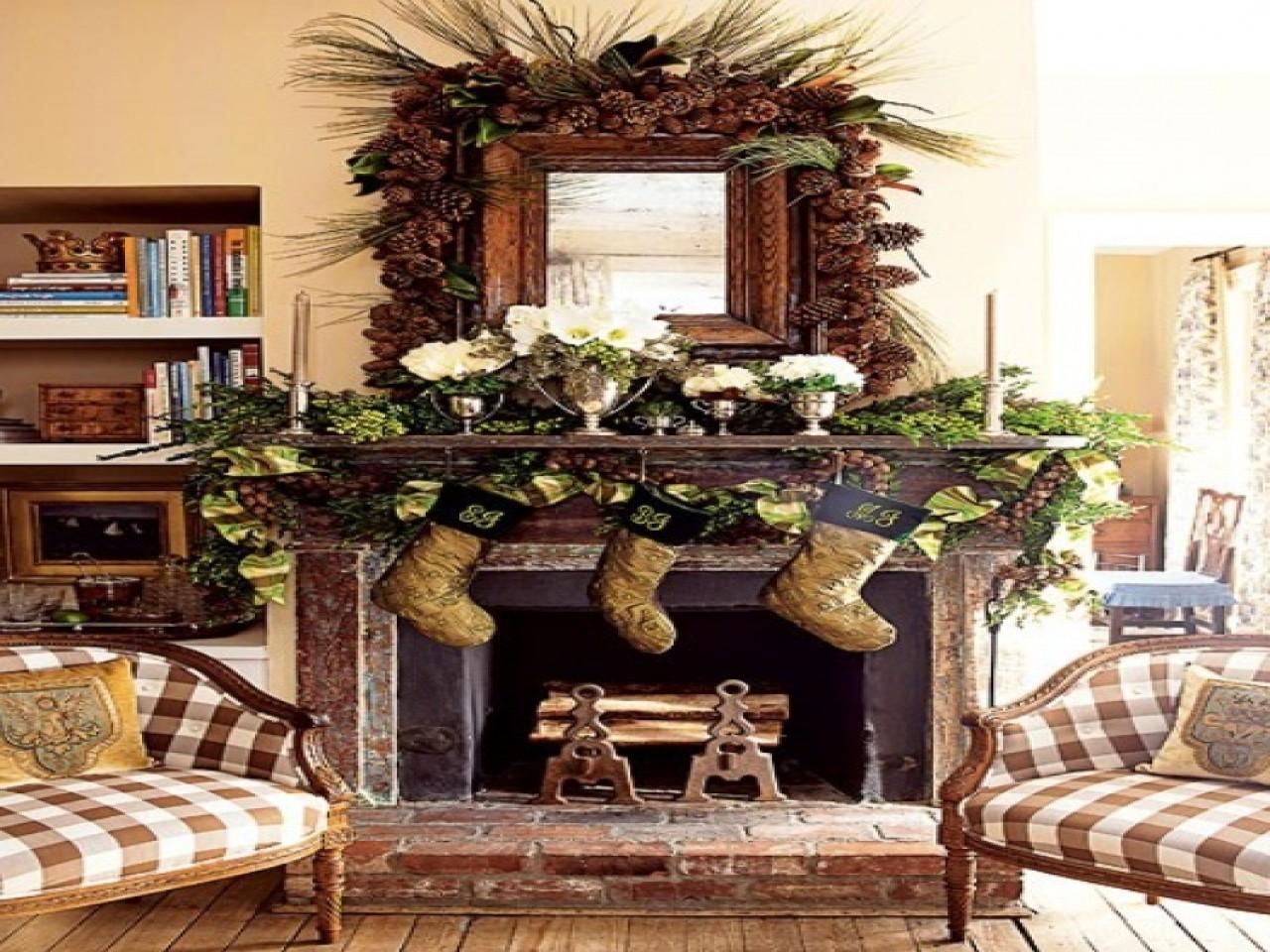 Cabin Bedroom Decorating Ideas Rustic Christmas Mantel