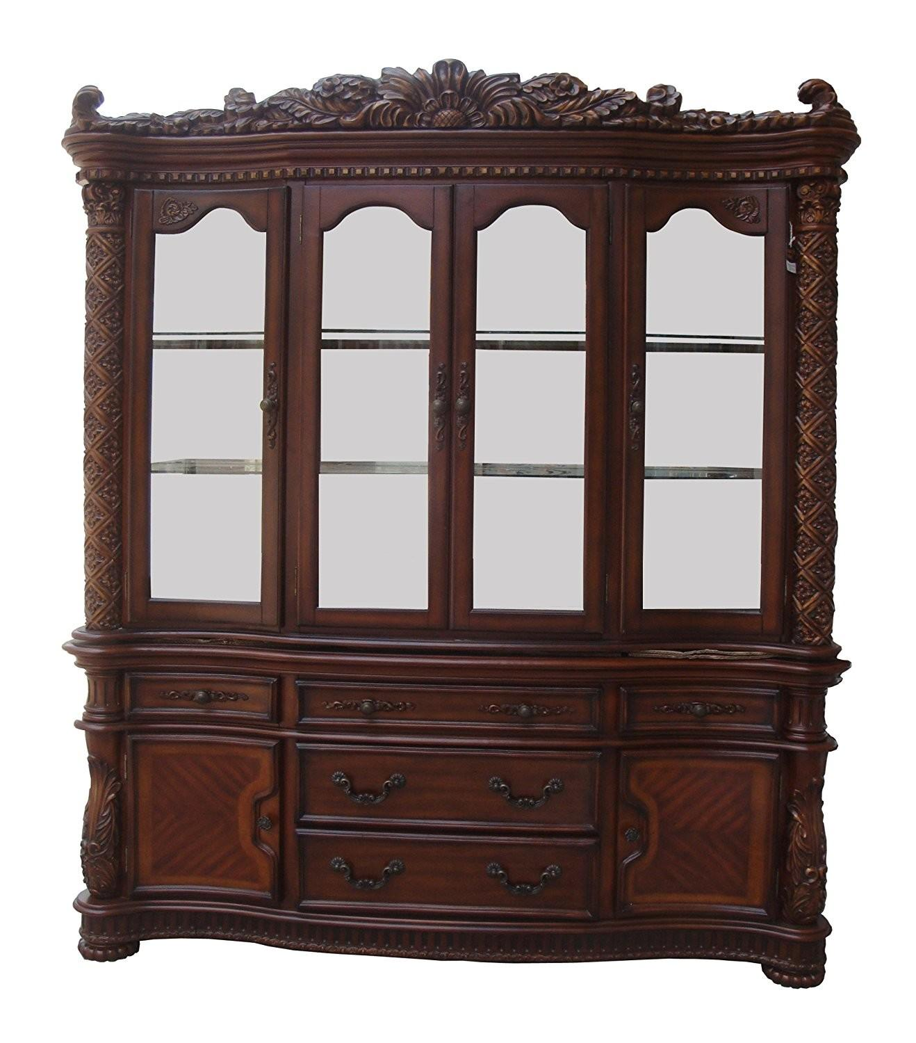 Cabinet Antique Dark Wood Vendome China Cabinets